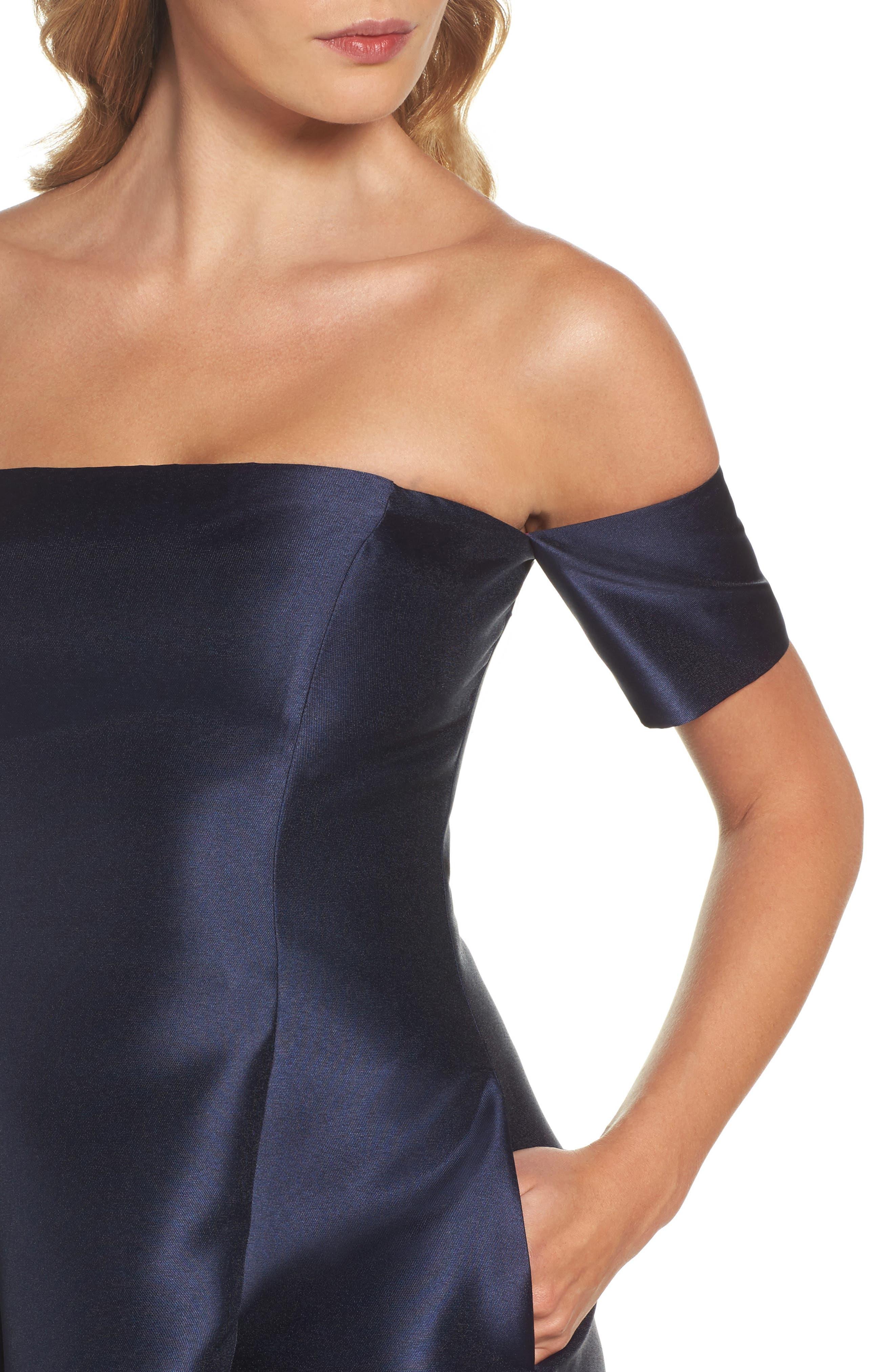 Alternate Image 4  - Eliza J Off the Shoulder High/Low Gown