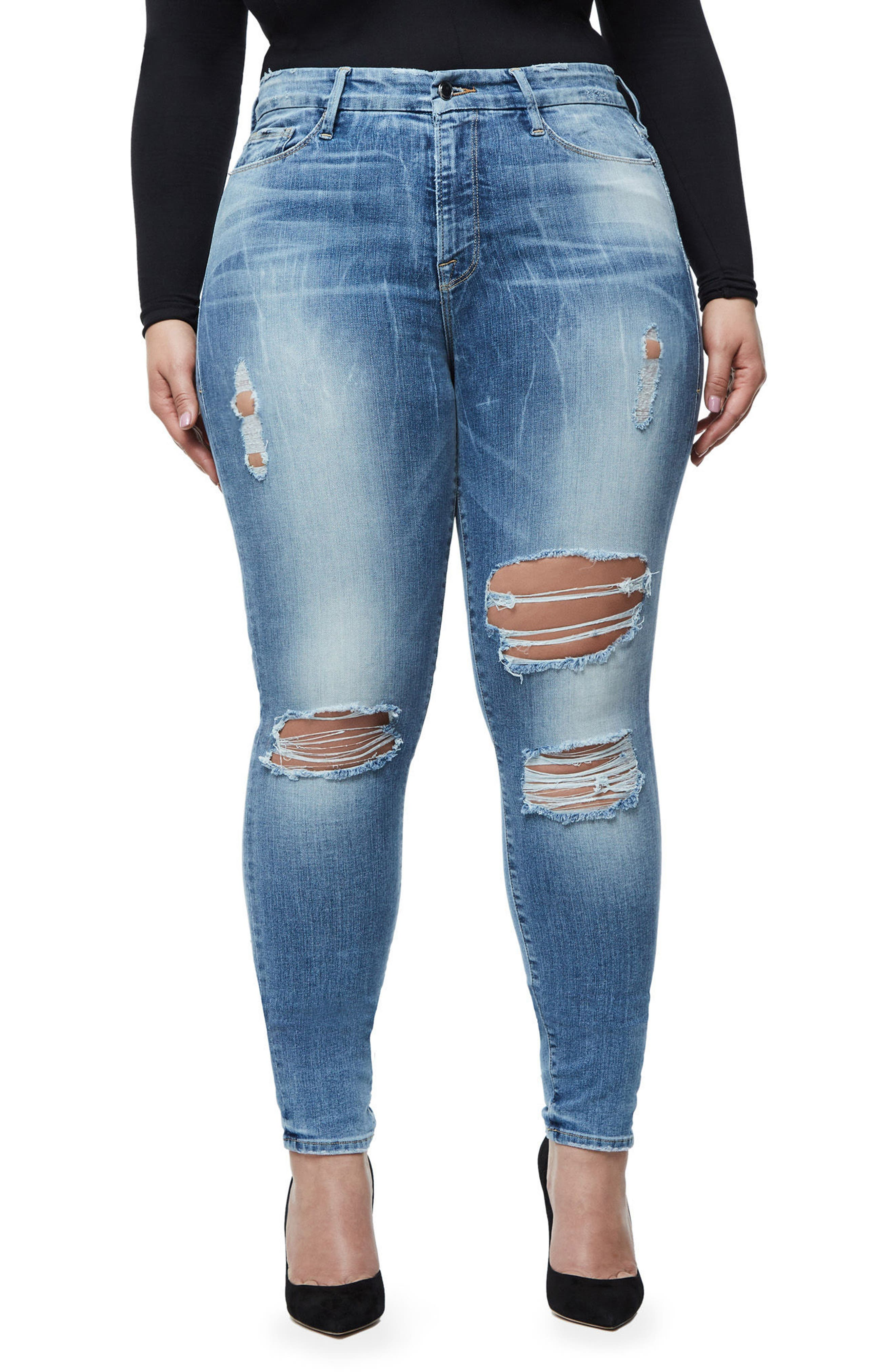 Alternate Image 4  - Good American Good Legs Ripped Skinny Jeans (Blue 068)