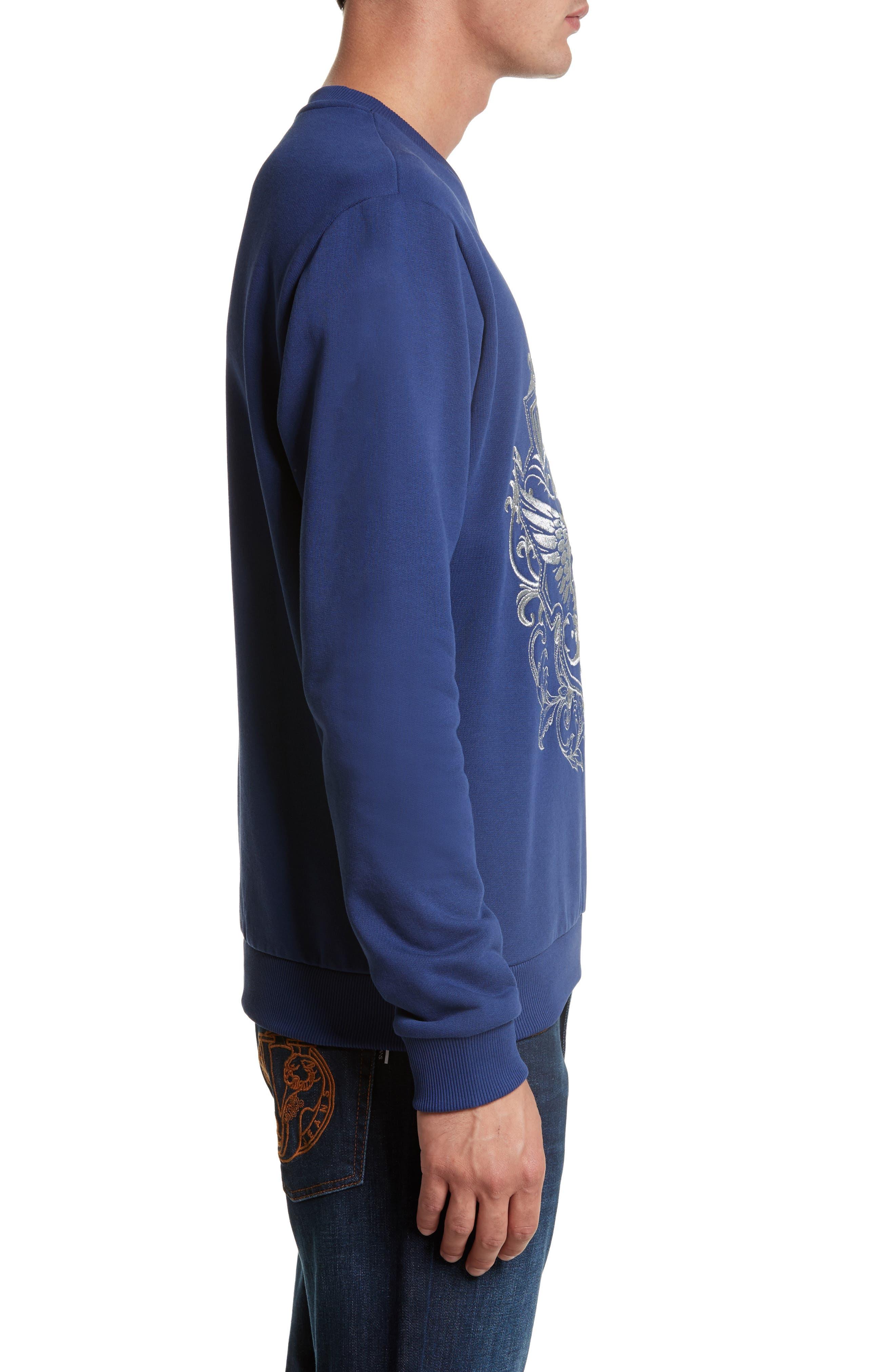 Embroidered Crewneck Sweatshirt,                             Alternate thumbnail 3, color,                             Blue