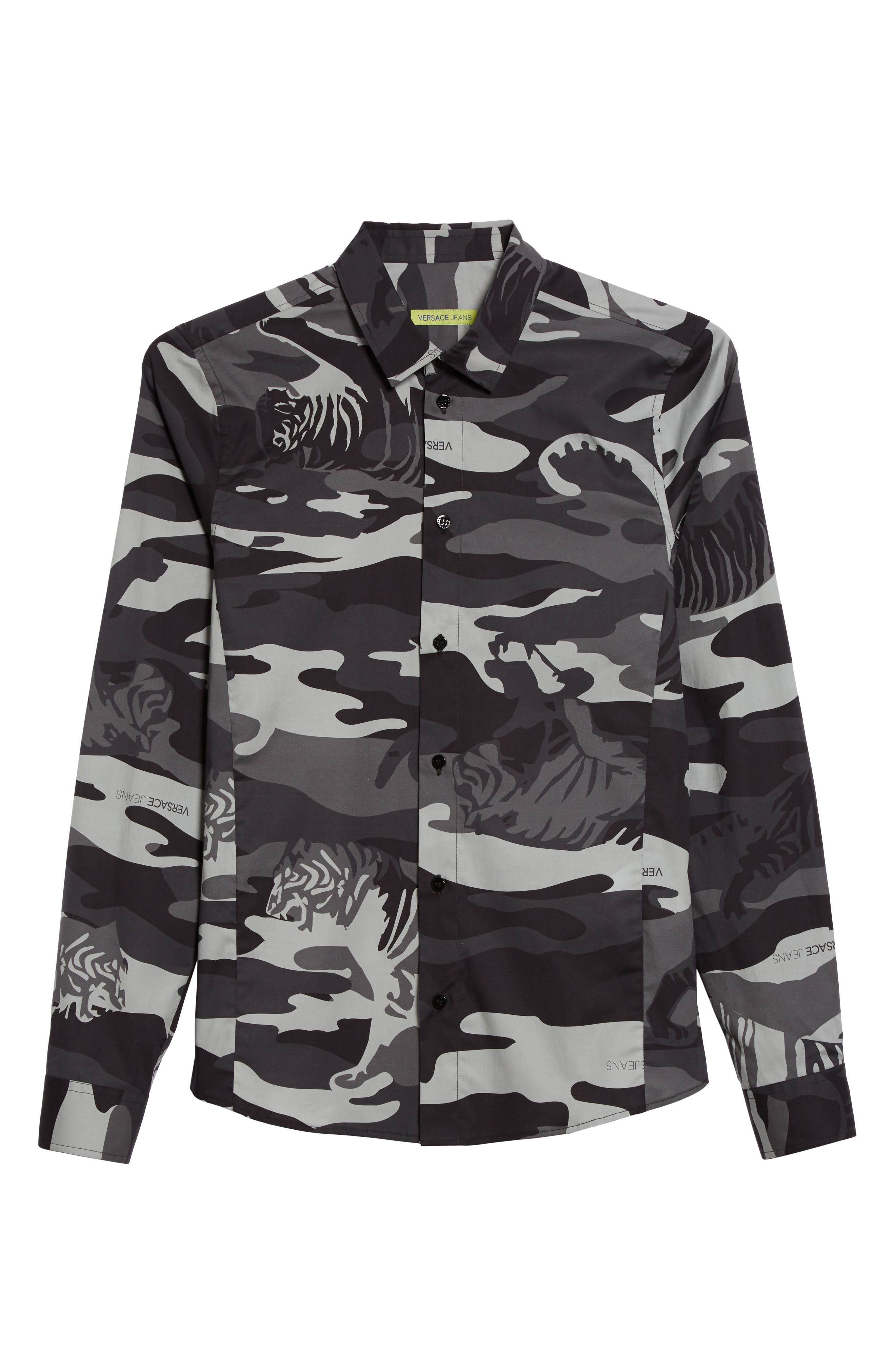 Tiger Camo Print Shirt,                             Alternate thumbnail 6, color,                             Grey