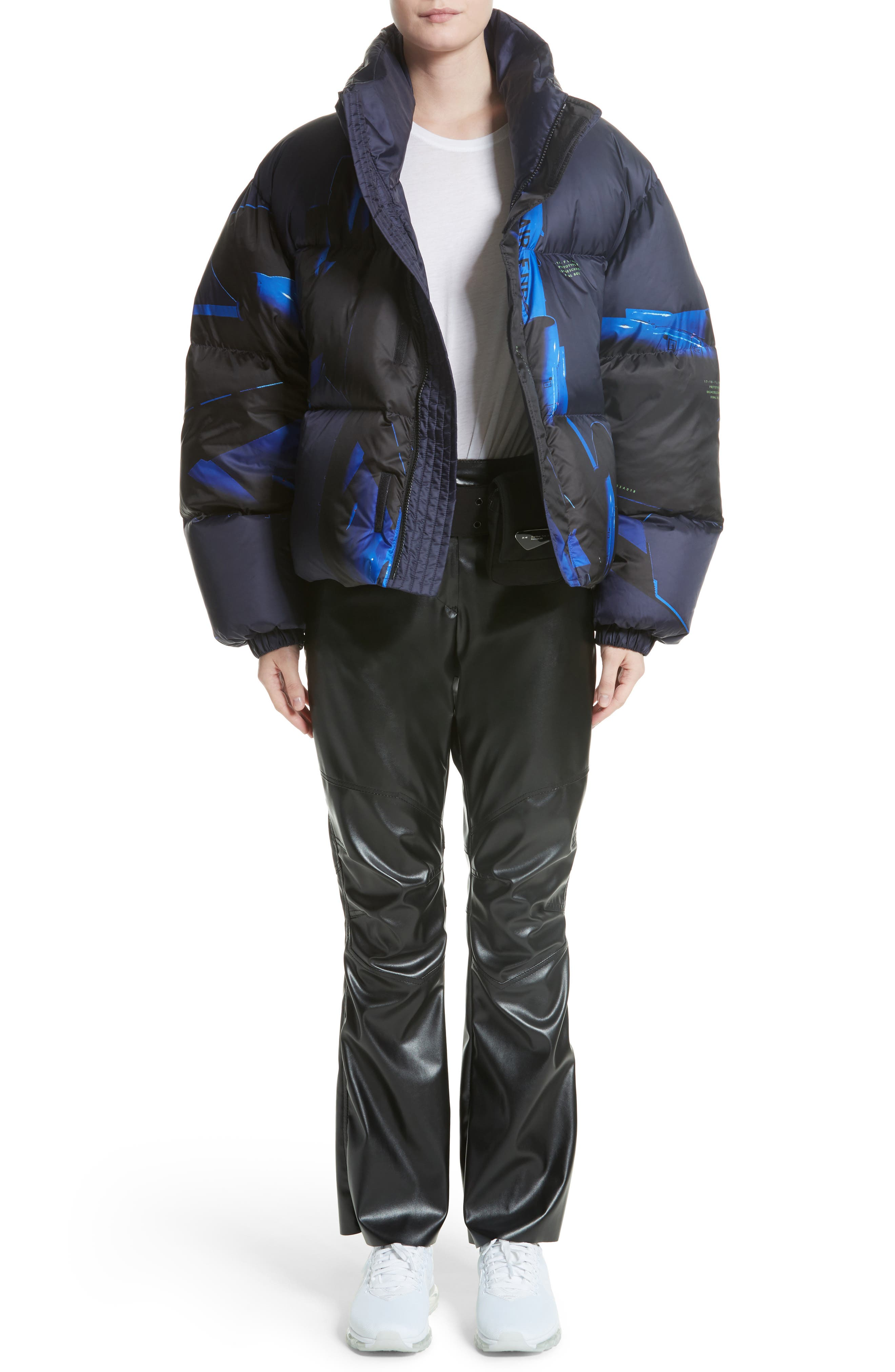 Printed Down Bomber Jacket,                             Alternate thumbnail 9, color,                             Blue