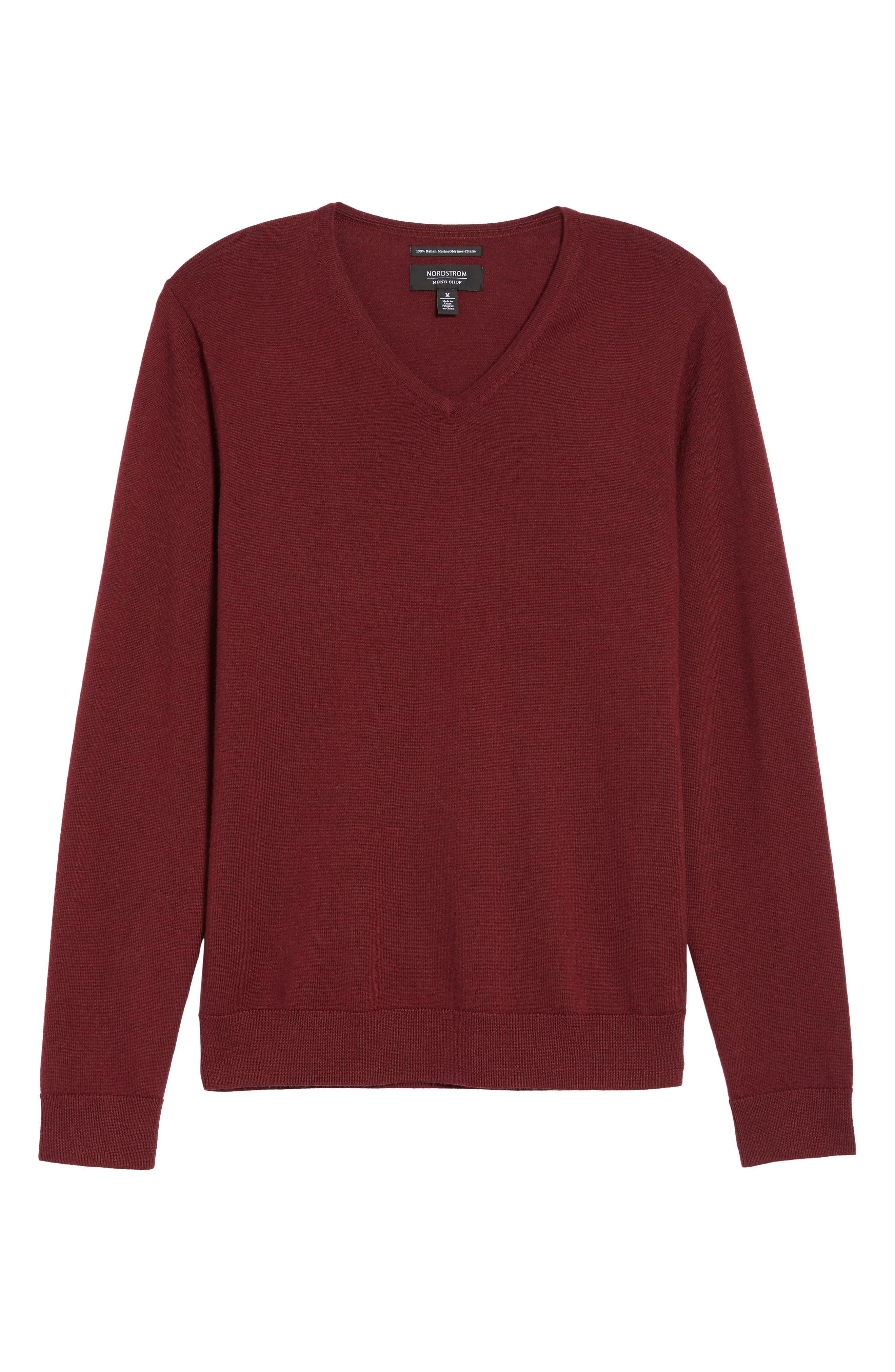 V-Neck Merino Wool Sweater,                             Alternate thumbnail 6, color,                             Burgundy Stem