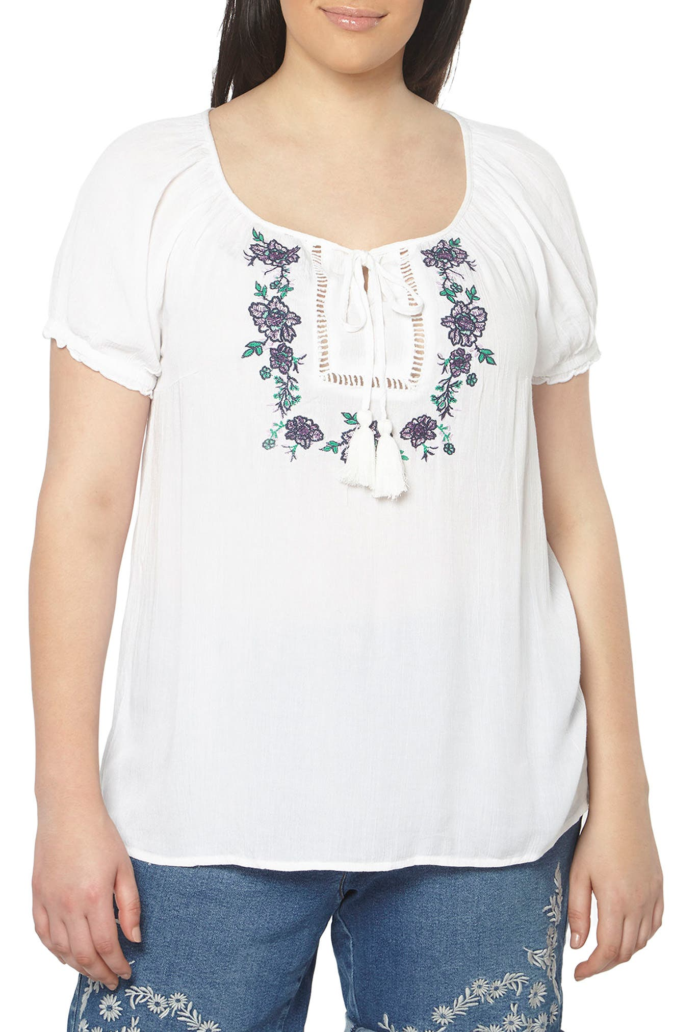 EVANS Embroidered Peasant Top