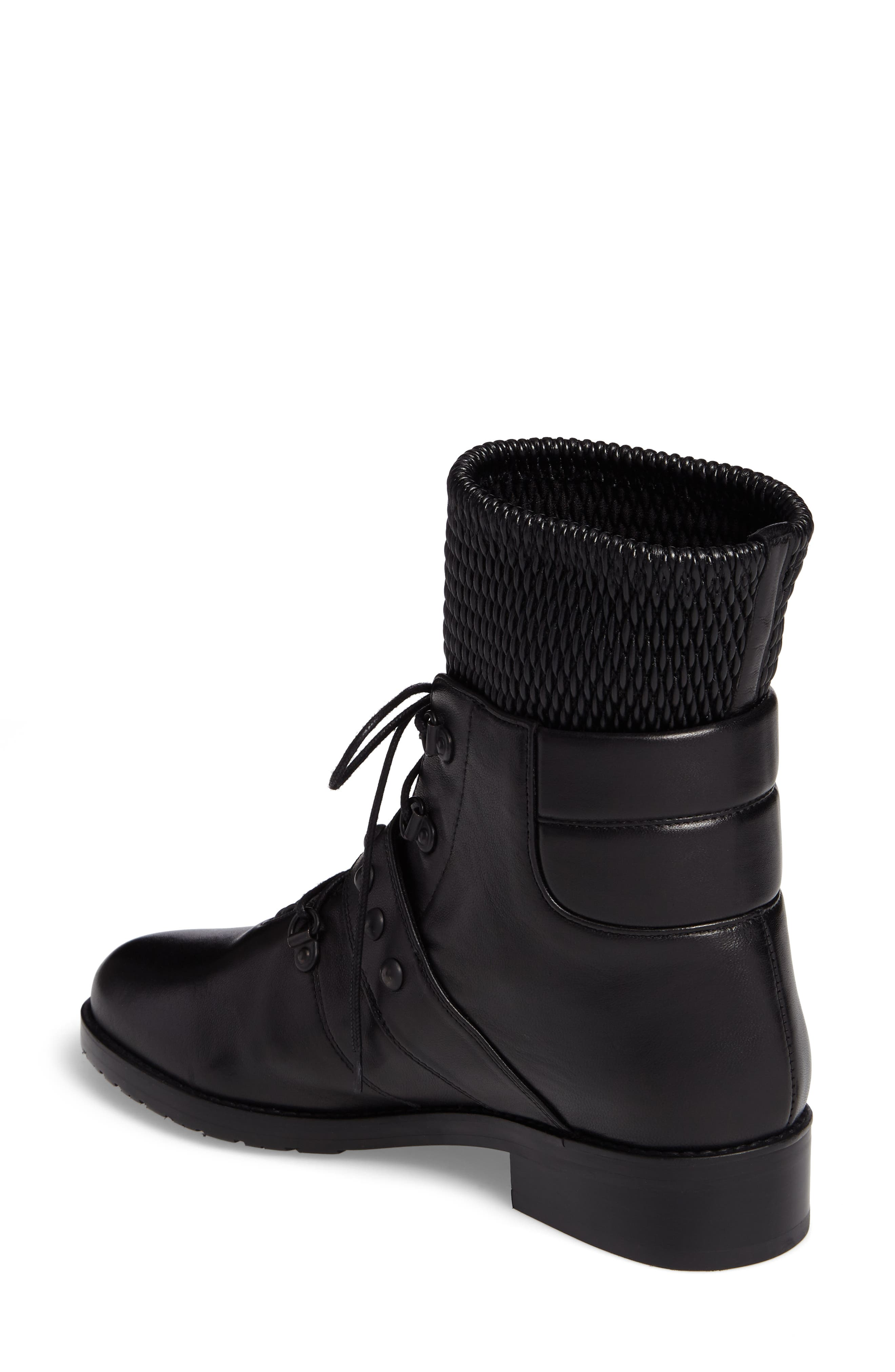 Stitchwork Combat Boot,                             Alternate thumbnail 2, color,                             Black Nappa