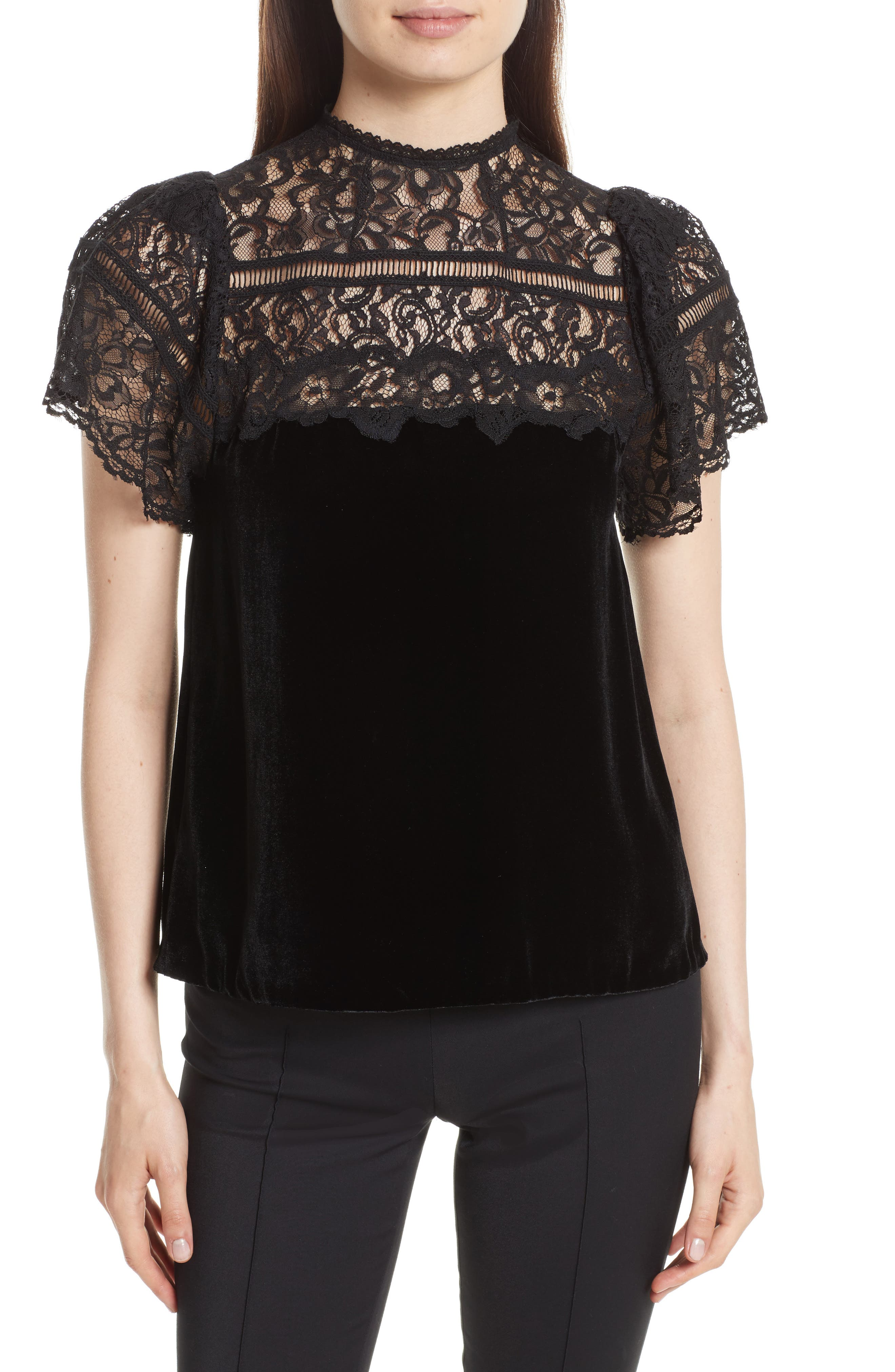 Short Sleeve Velvet & Lace Top,                             Main thumbnail 1, color,                             Black