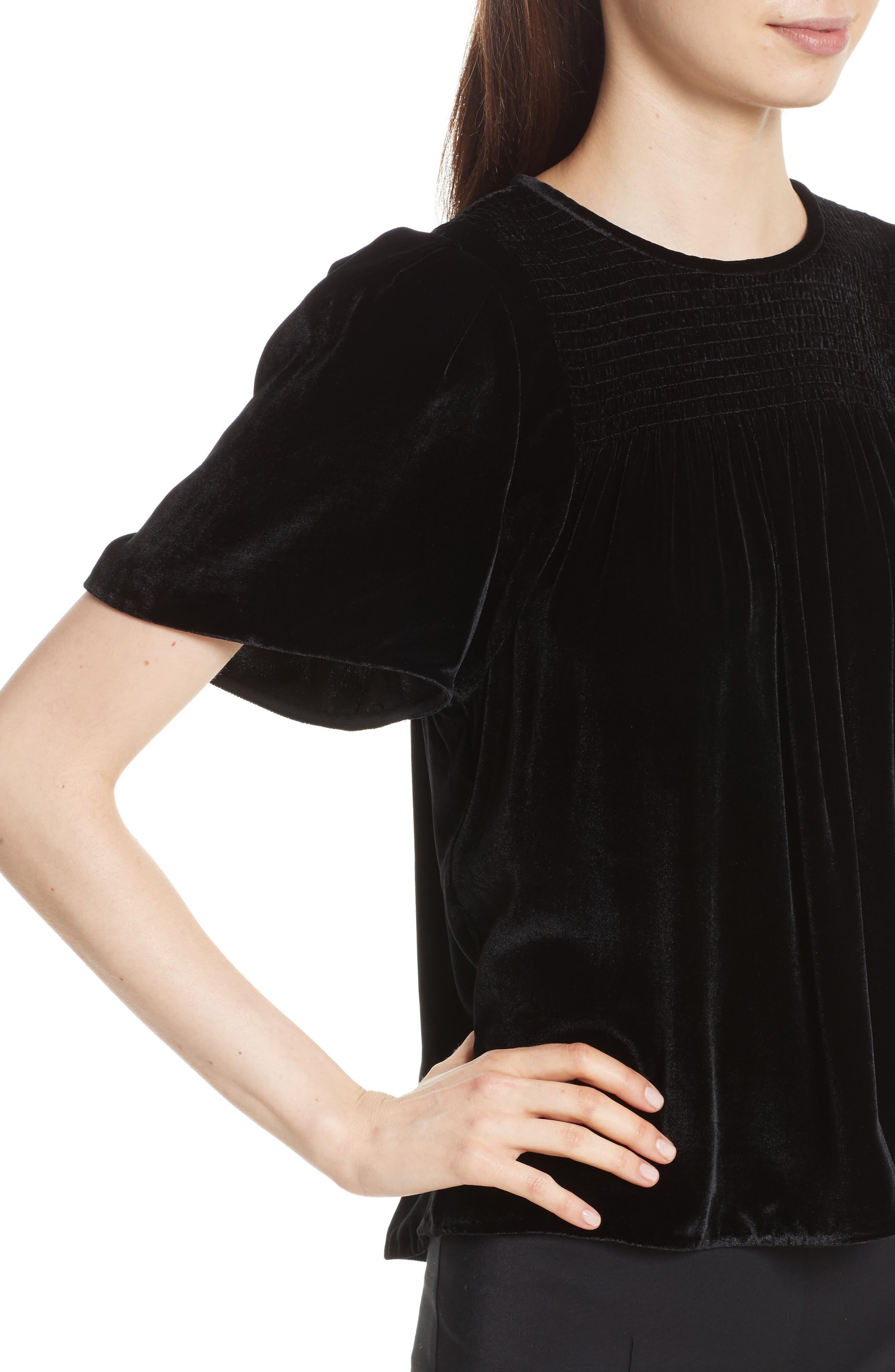 Short Sleeve Velvet Top,                             Alternate thumbnail 4, color,                             Black