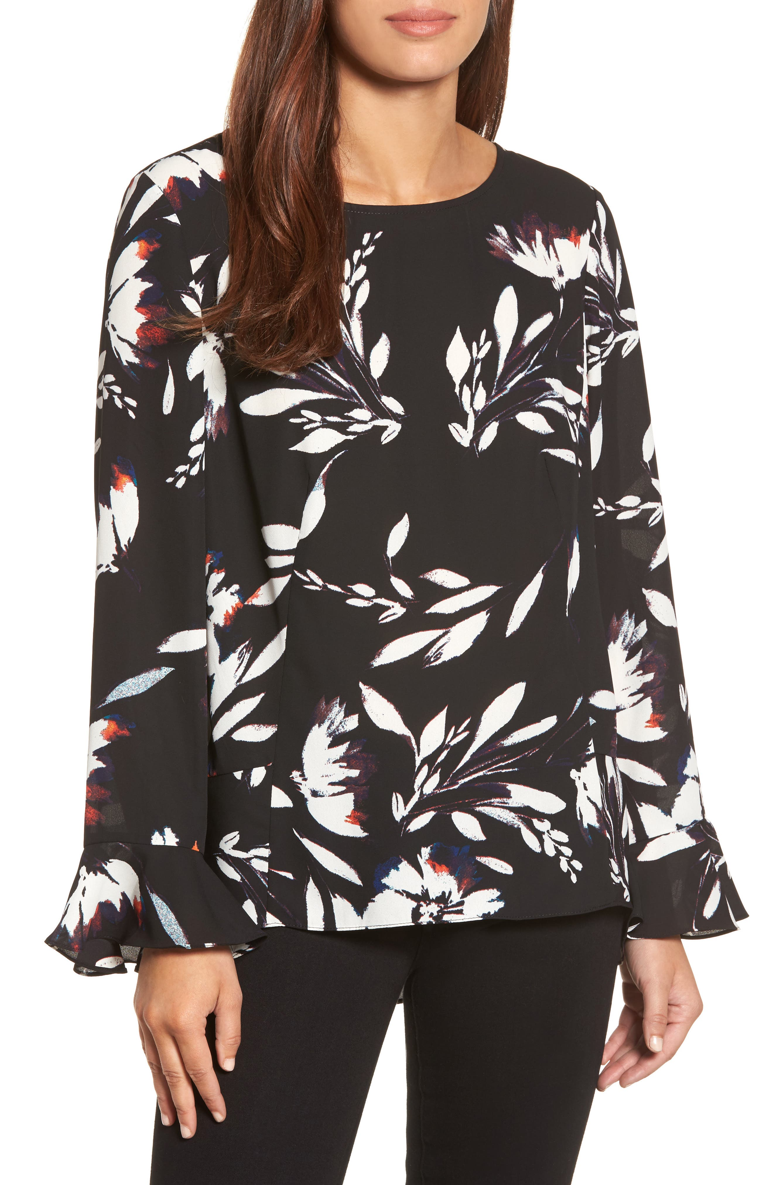 Floral Vision Bell Sleeve Blouse,                         Main,                         color, Rich Black