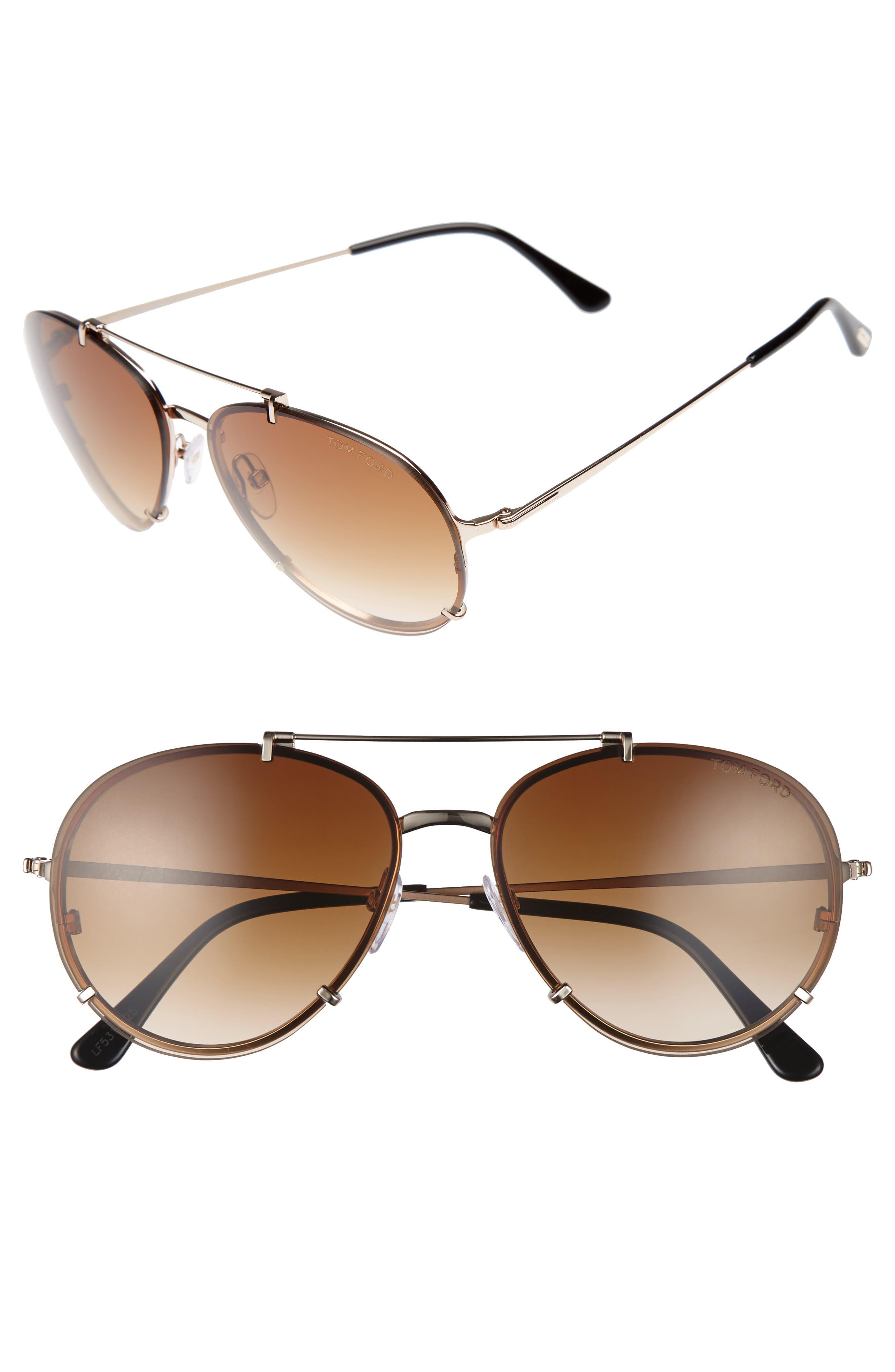 Dickon 59mm Aviator Sunglasses,                         Main,                         color, Shiny Rose Gold/ Brown