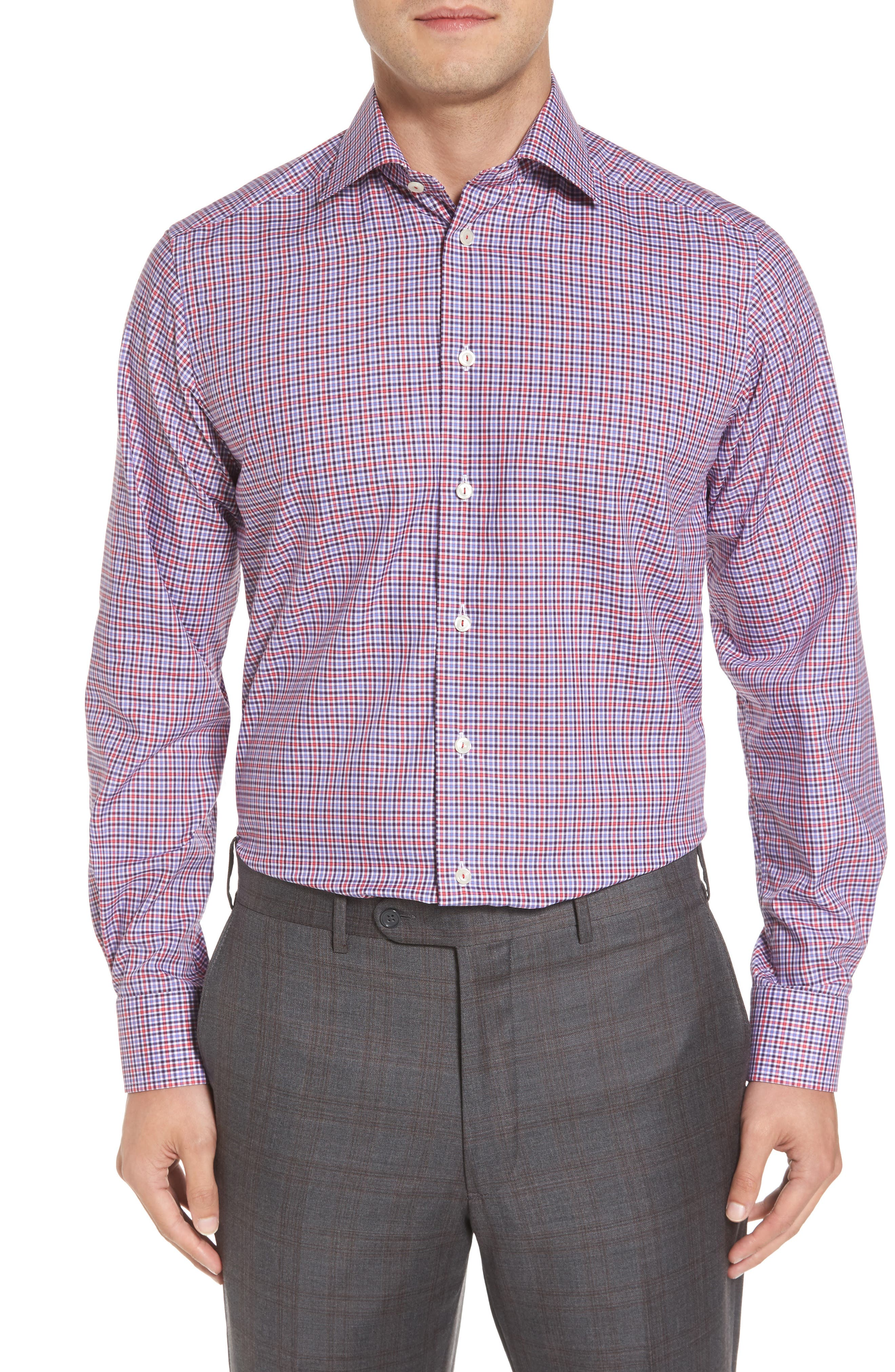 Contemporary Fit Check Dress Shirt,                             Alternate thumbnail 2, color,                             Pink/ Red
