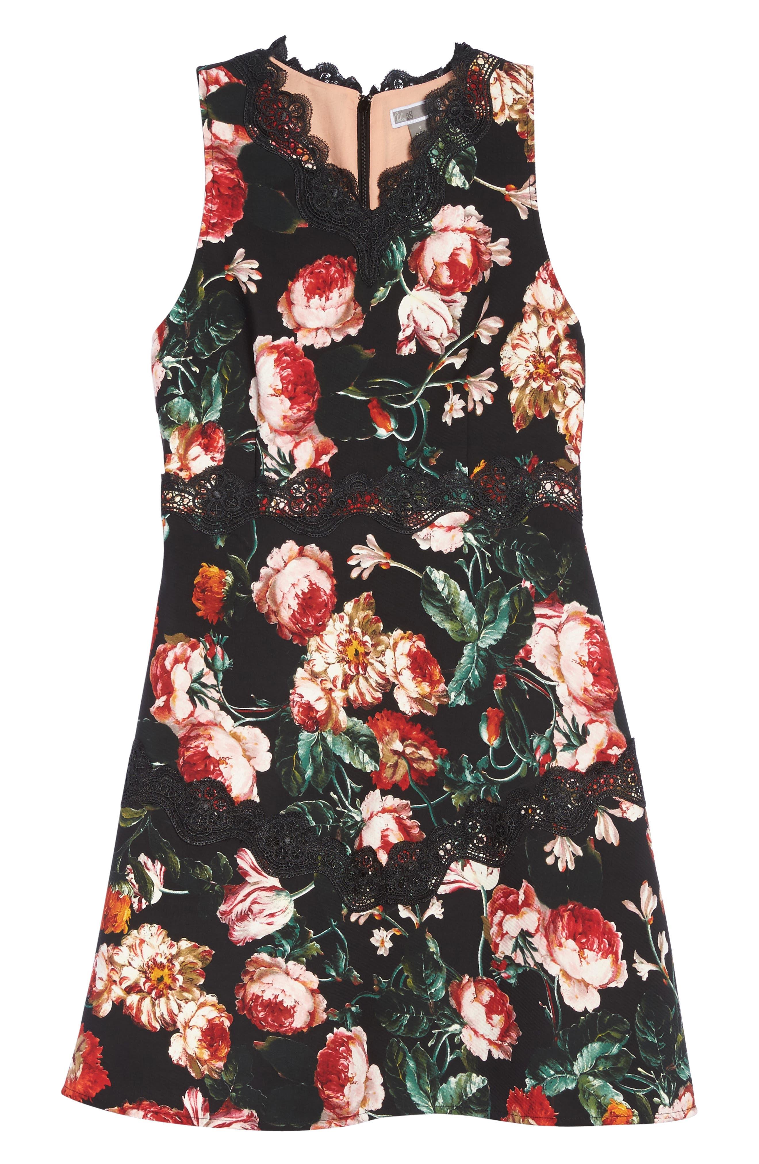 Lace Fit & Flare Dress,                             Alternate thumbnail 6, color,                             Black Foxie Floral