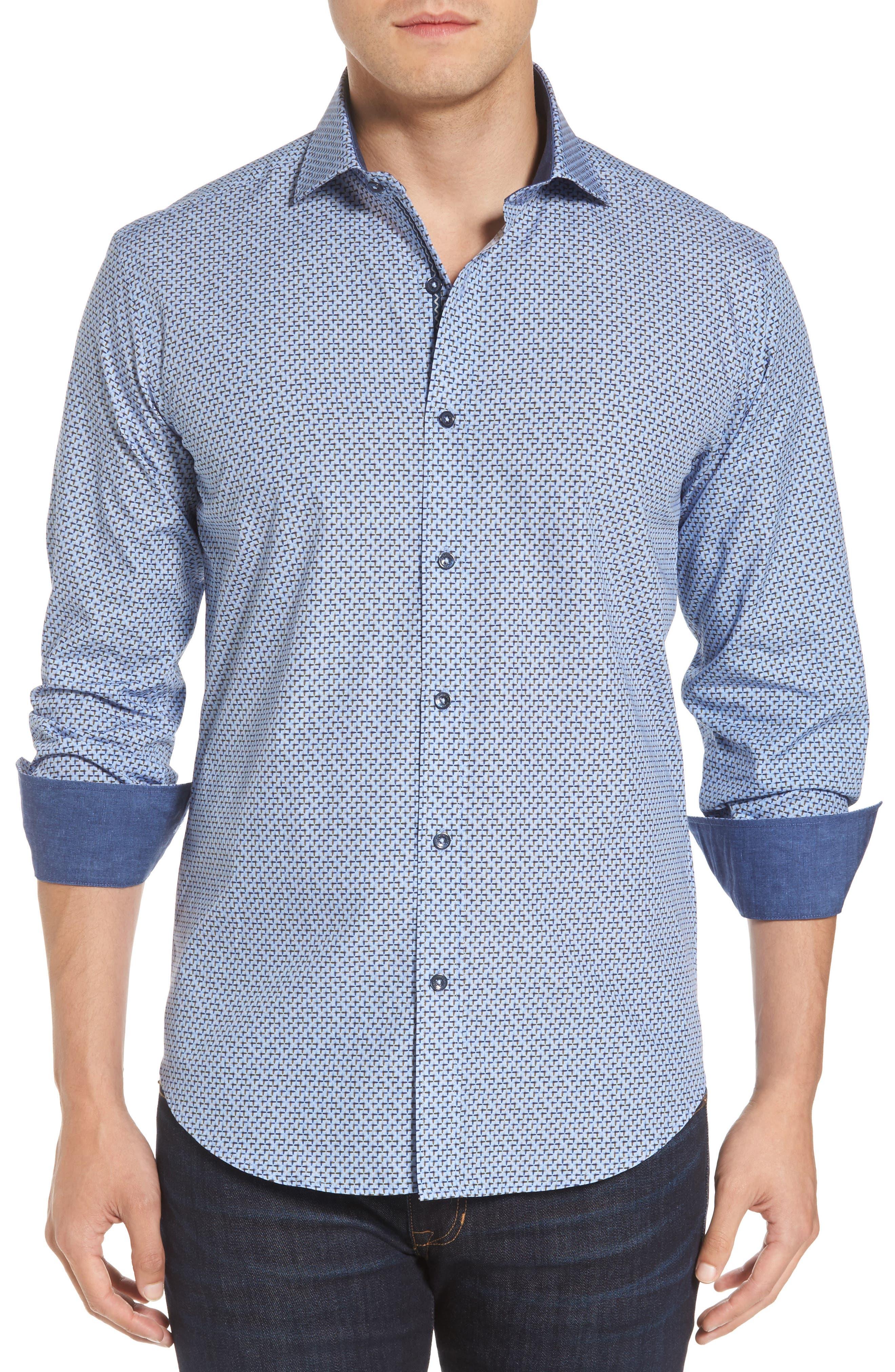Shaped Fit Print Sport Shirt,                         Main,                         color, Sky