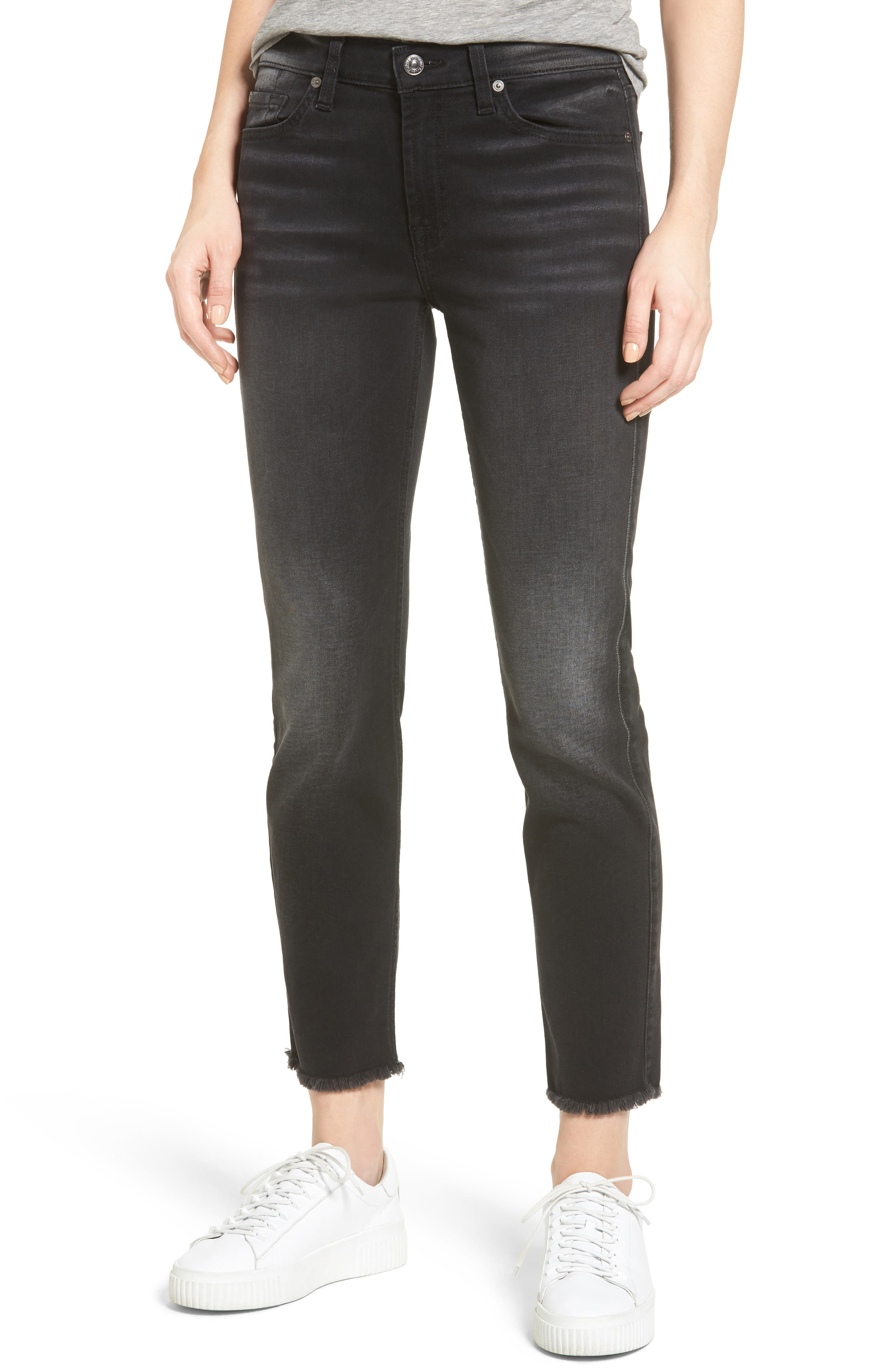 Main Image - Seven7 Roxanne Raw Hem Ankle Jeans (Aged Onyx)