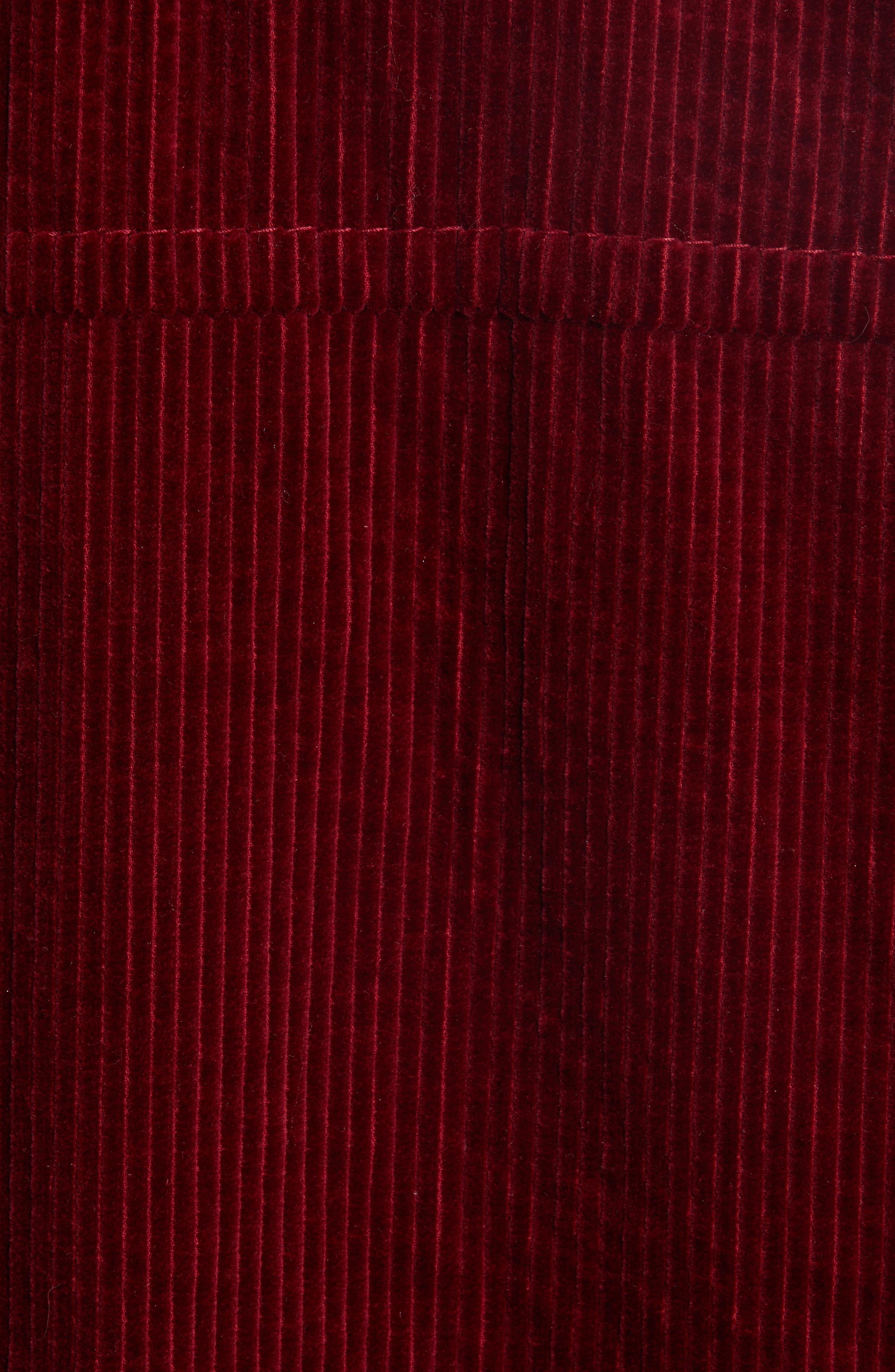 Corduroy Coat with Faux Shearling Collar,                             Alternate thumbnail 6, color,                             Bordeaux