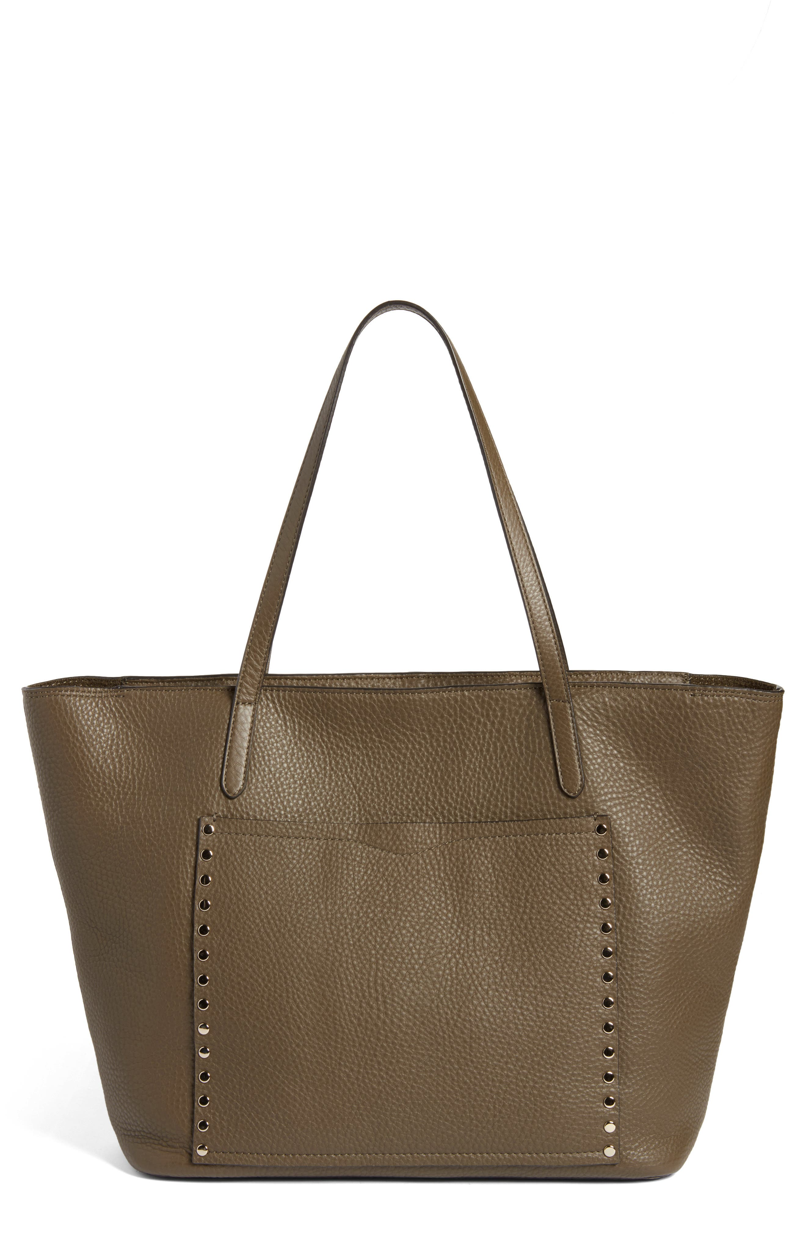 Unlined Front Pocket Leather Tote,                             Main thumbnail 1, color,                             Moss/ Light Gold Hardware