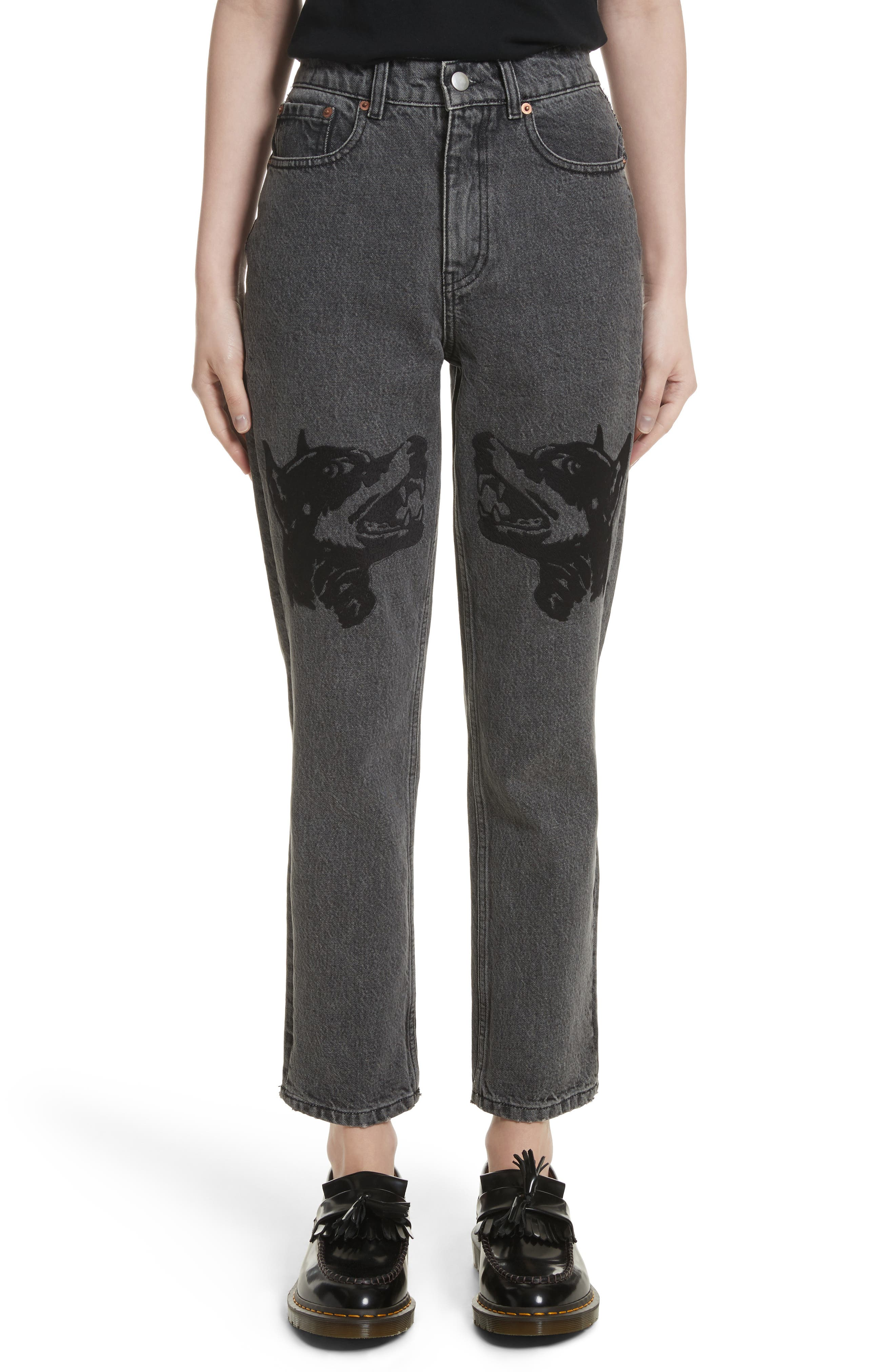 Main Image - Ashley Williams Dog Embroidered Jeans (Grey)