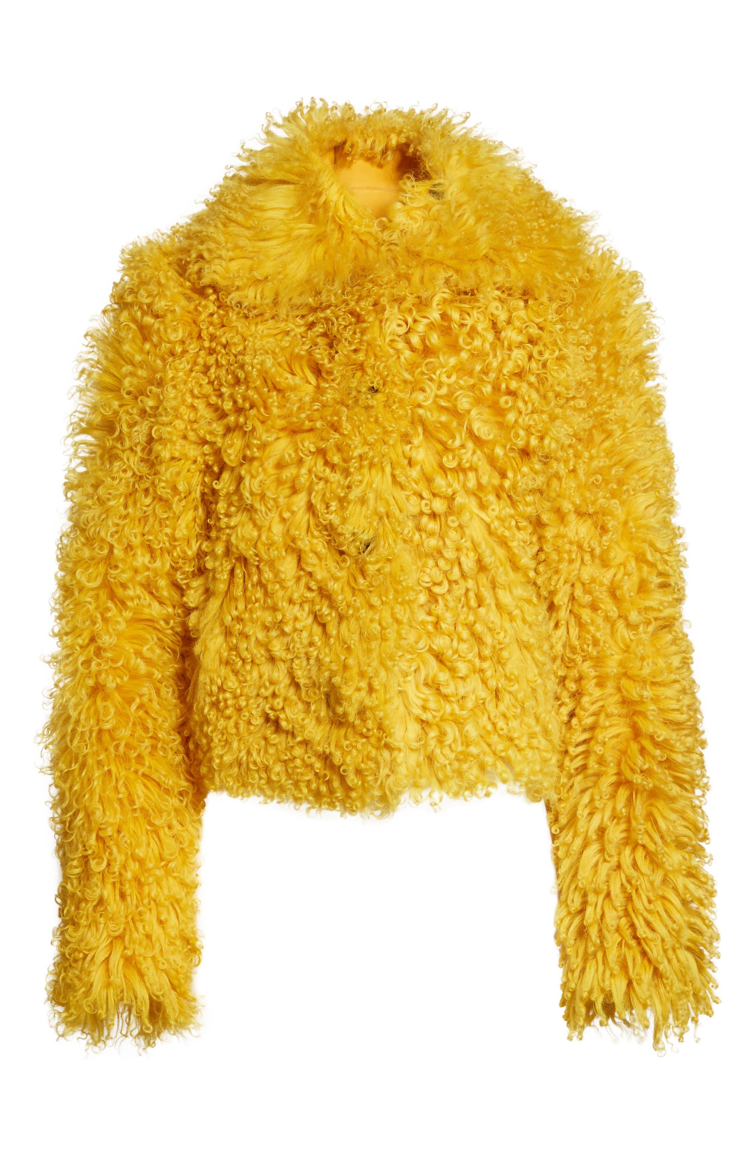 Genuine Shearling Moto Jacket,                             Alternate thumbnail 6, color,                             Mustard