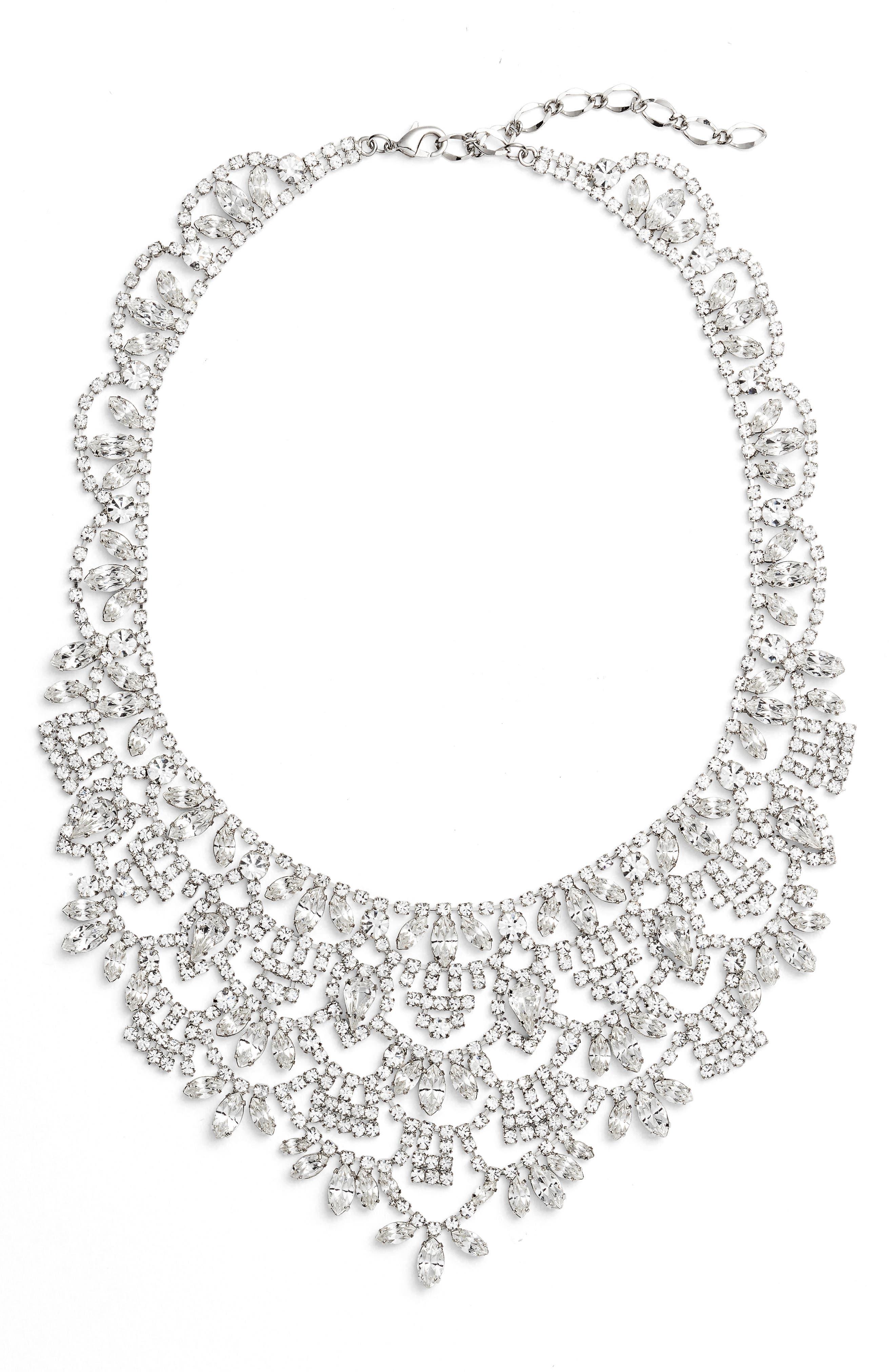 Crystal Bib Necklace,                         Main,                         color, Silver