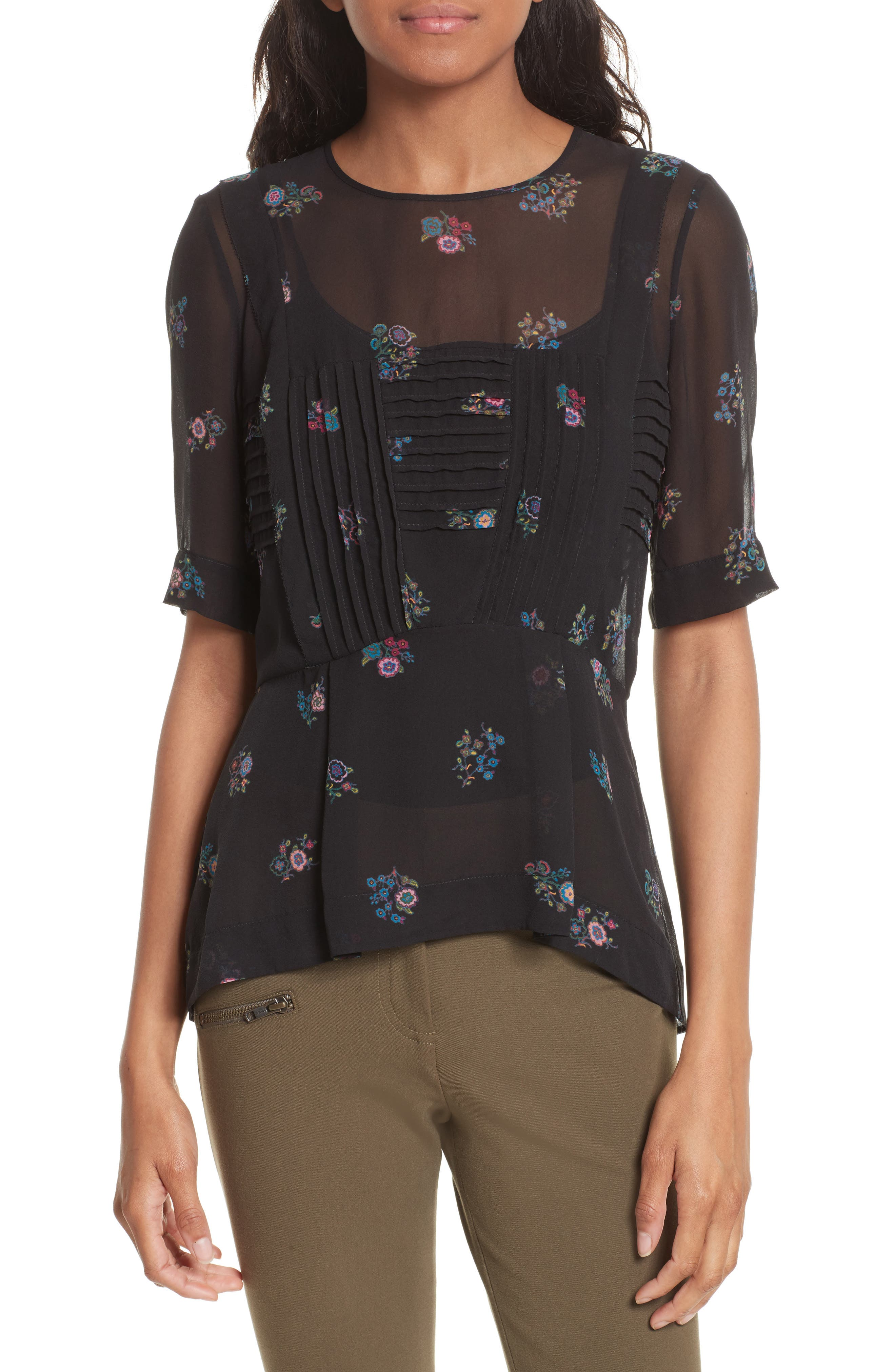 Braden Print Silk Top,                         Main,                         color, Black