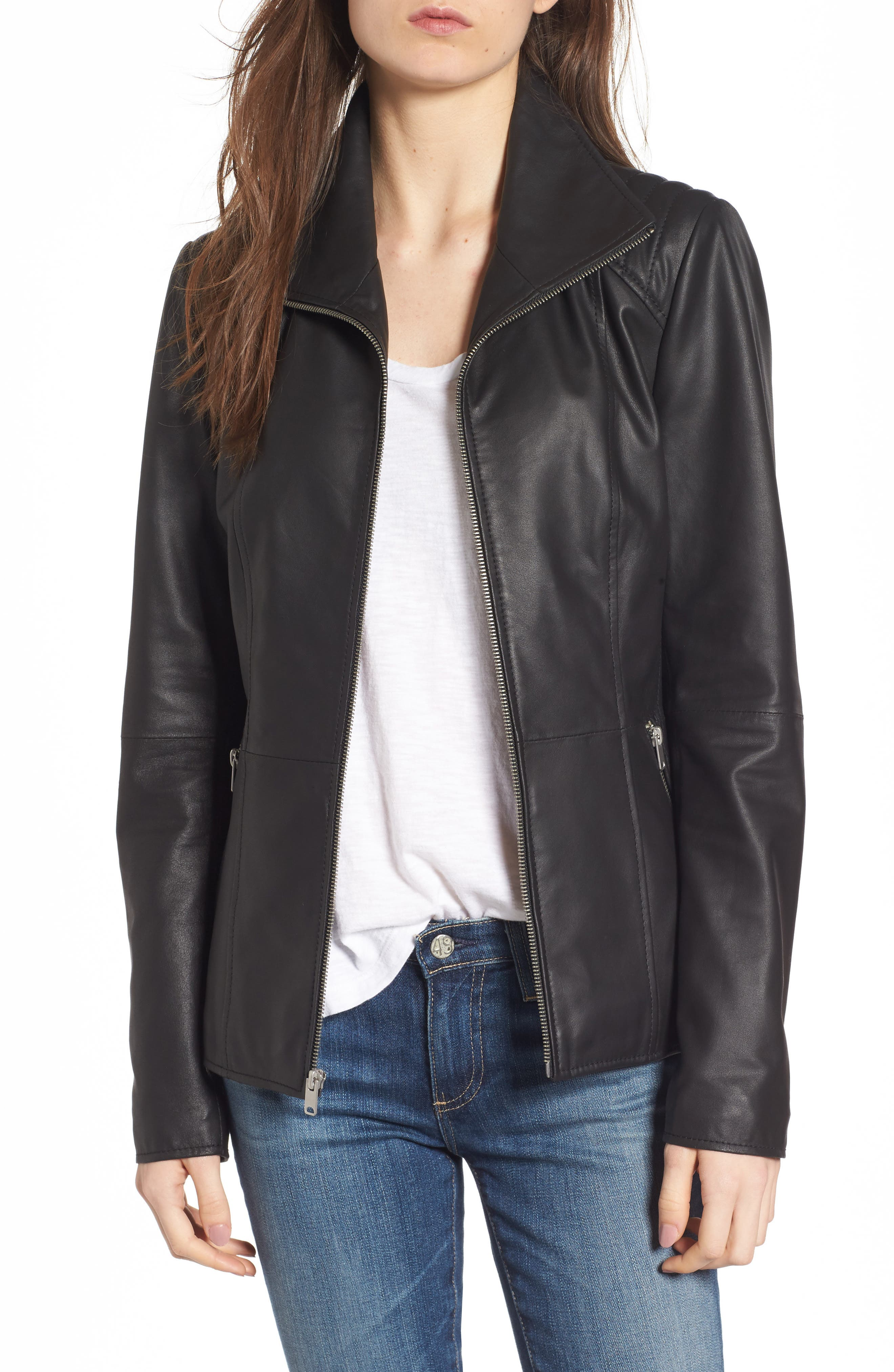 Fabian Feather Leather Jacket,                         Main,                         color, Black
