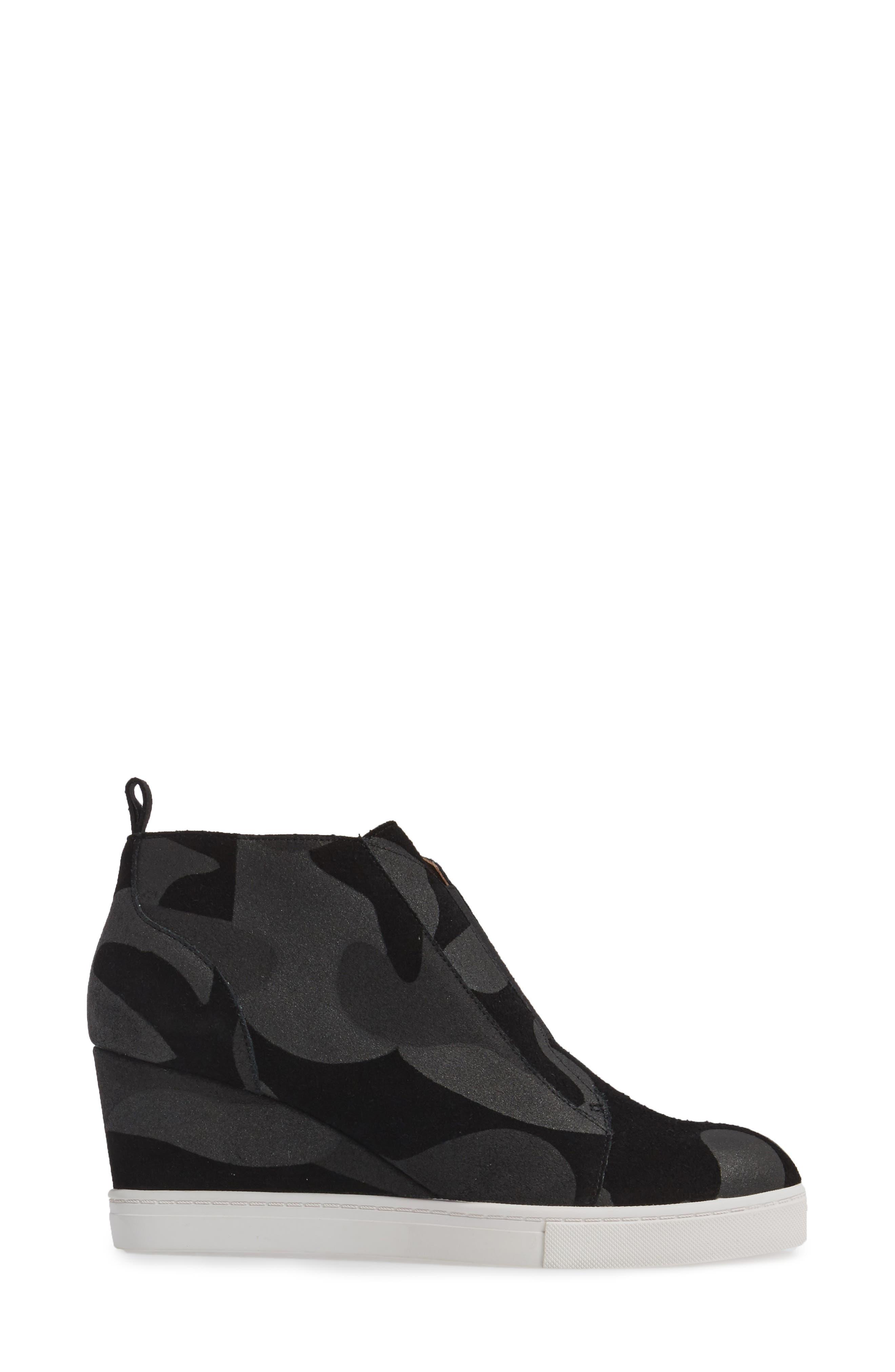 'Felicia' Wedge Bootie,                             Alternate thumbnail 3, color,                             Black/ Dark Grey Print Suede