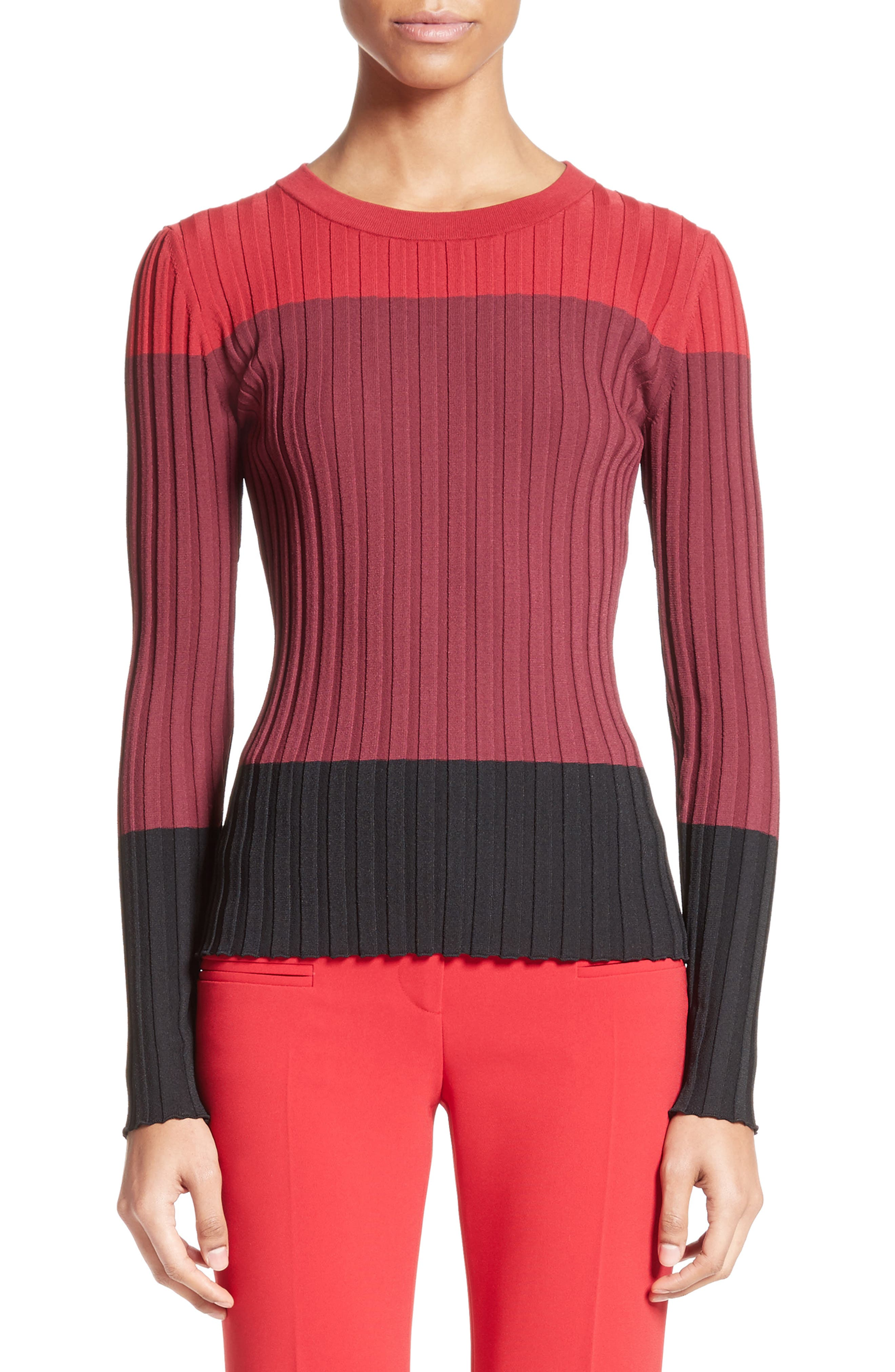 Leila Colorblock Knit Sweater,                             Main thumbnail 1, color,                             Port Multi