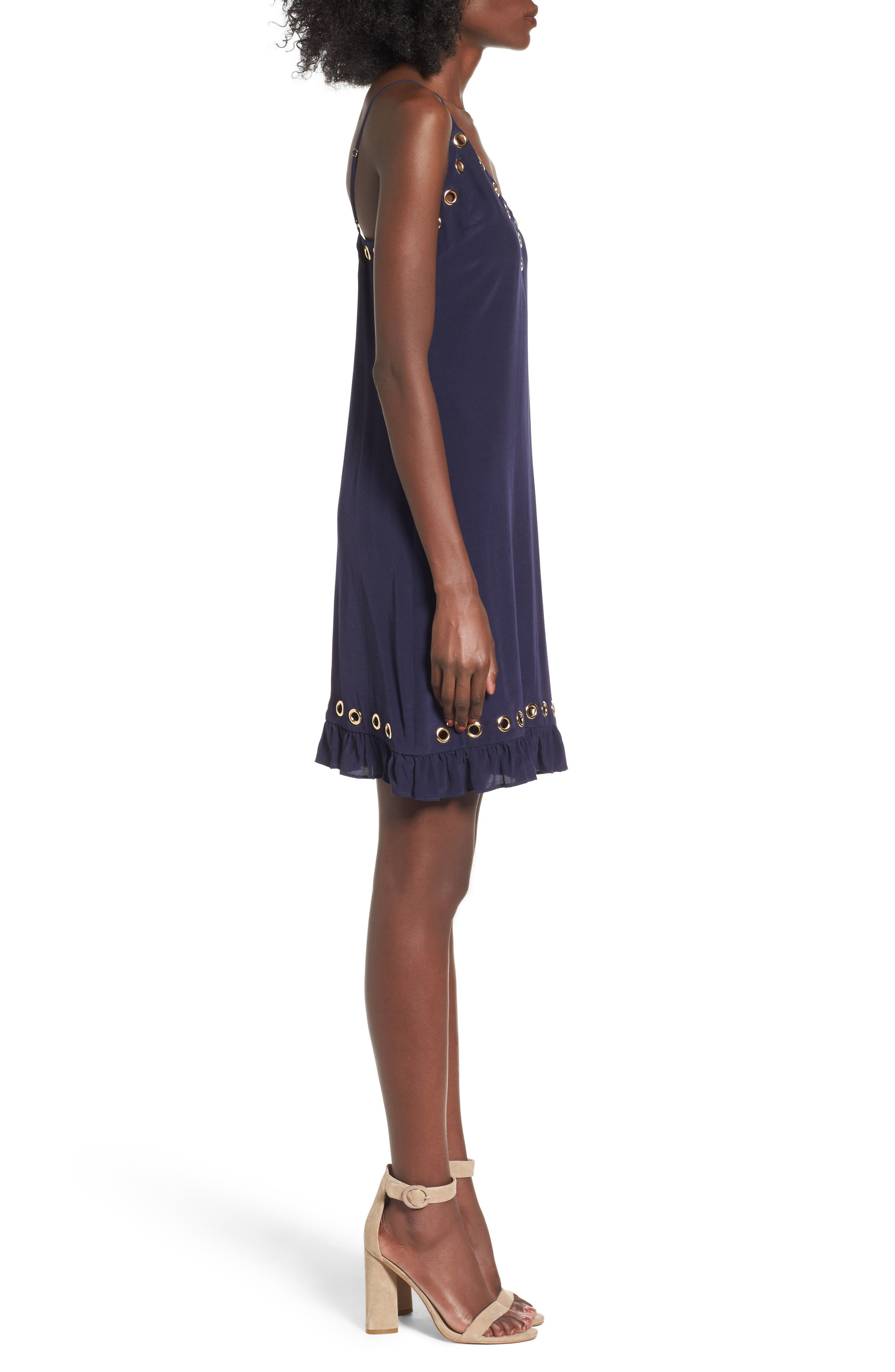 Grommet Slipdress,                             Alternate thumbnail 3, color,                             Navy