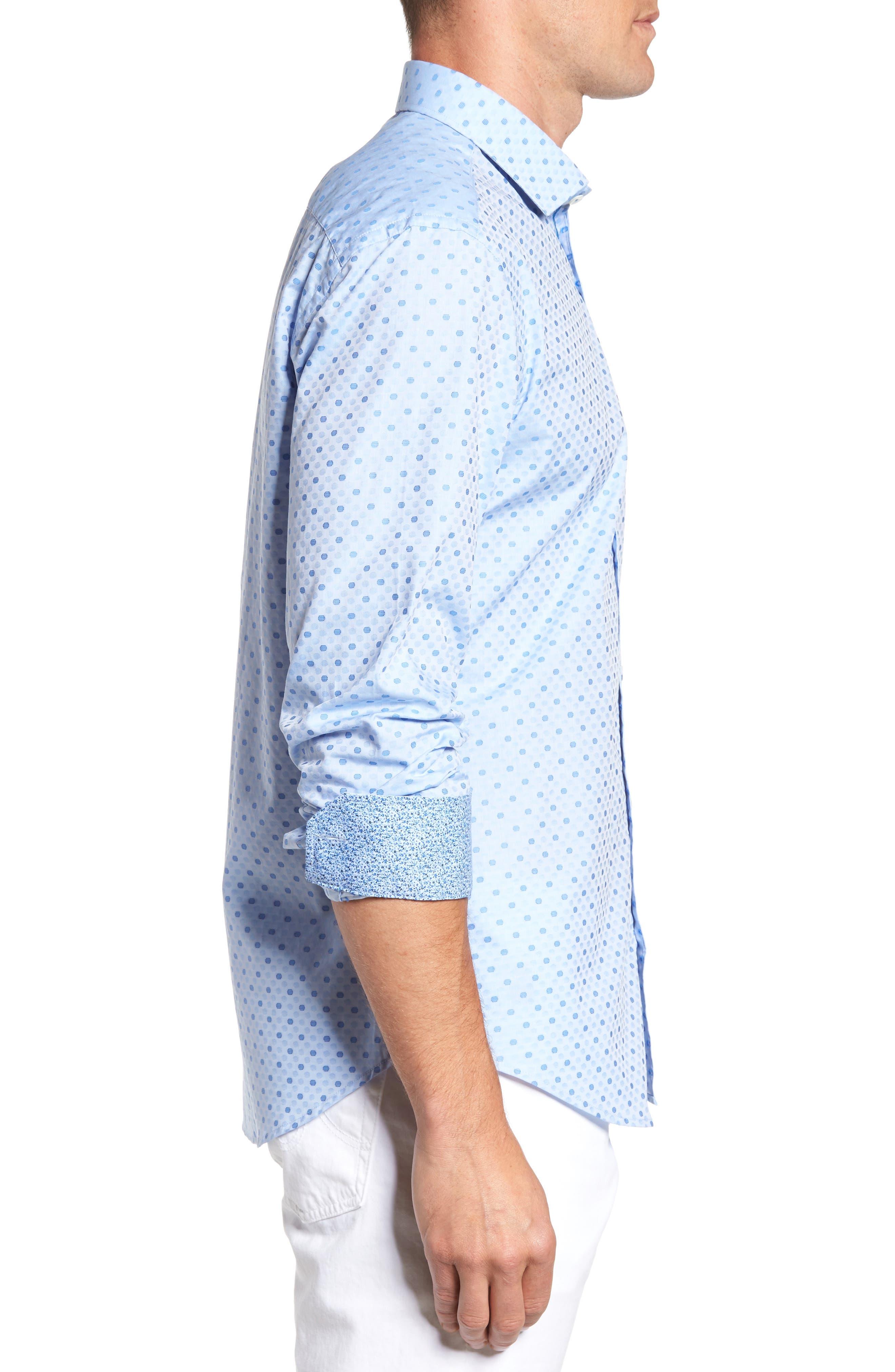 Alternate Image 4  - Bugatchi Shaped Fit Dot Sport Shirt