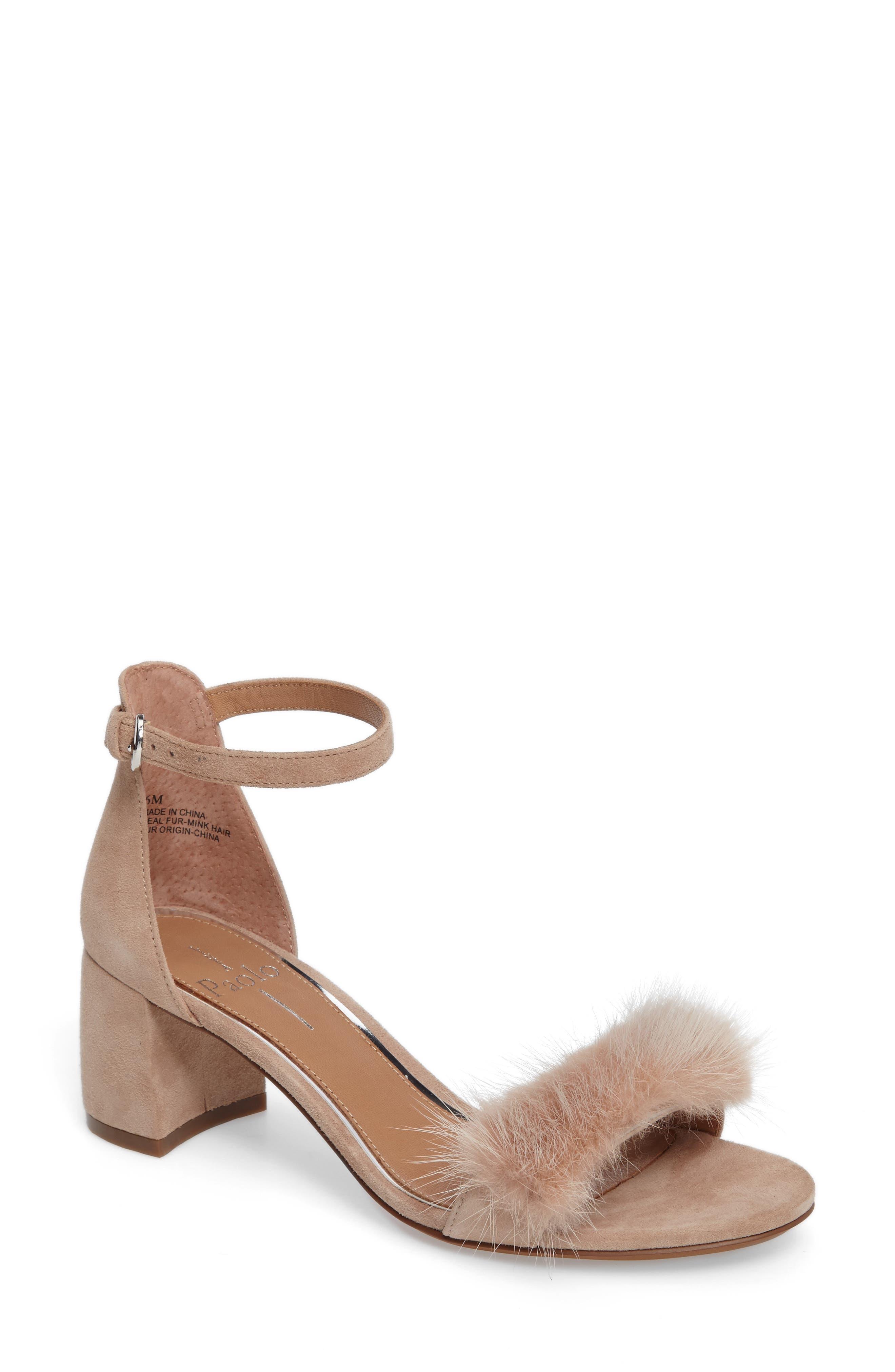 Hepburn Genuine Mink Fur Sandal,                         Main,                         color, Dusty Rose Suede