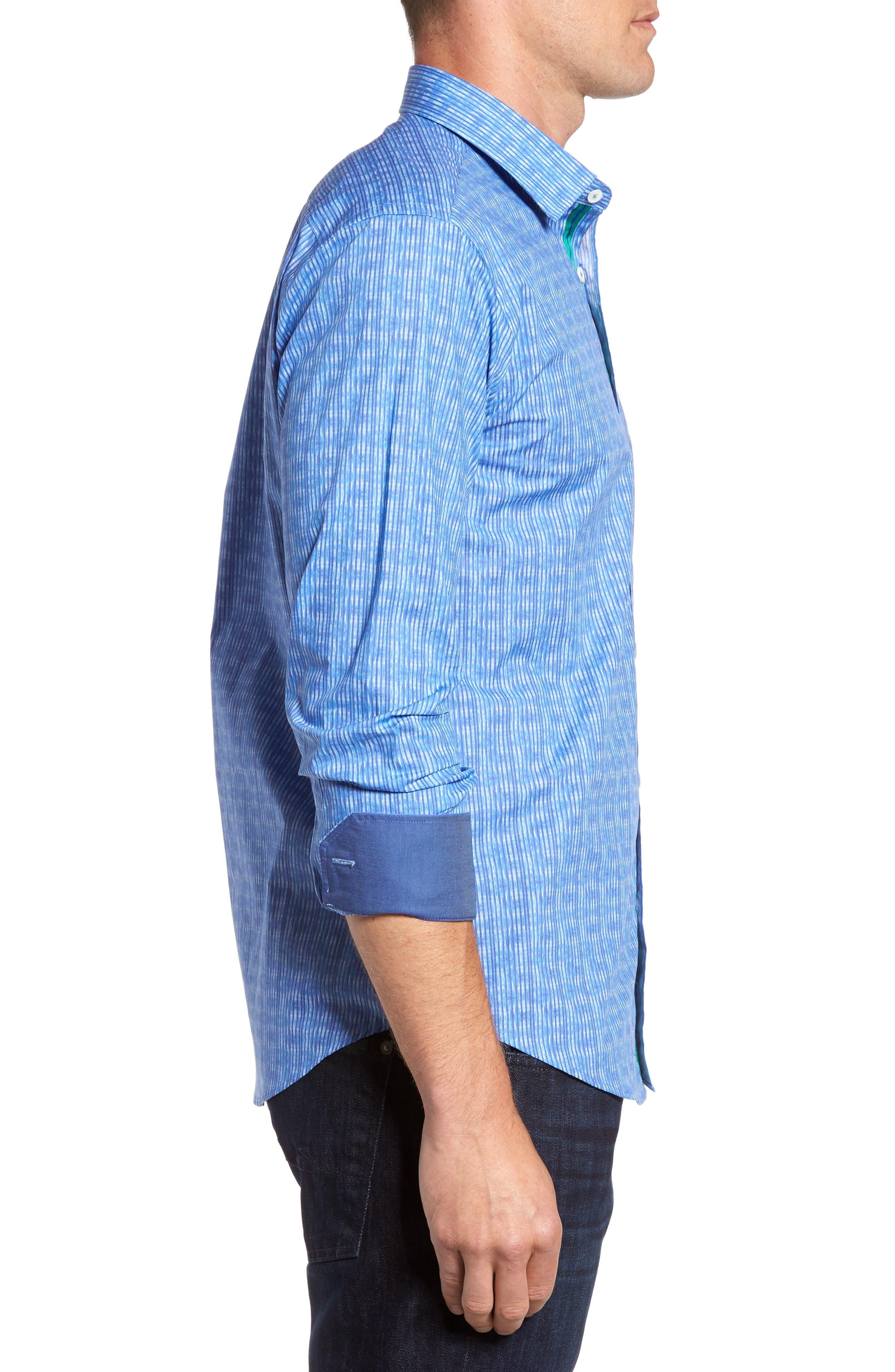 Shaped Fit Stripe Sport Shirt,                             Alternate thumbnail 3, color,                             Classic Blue