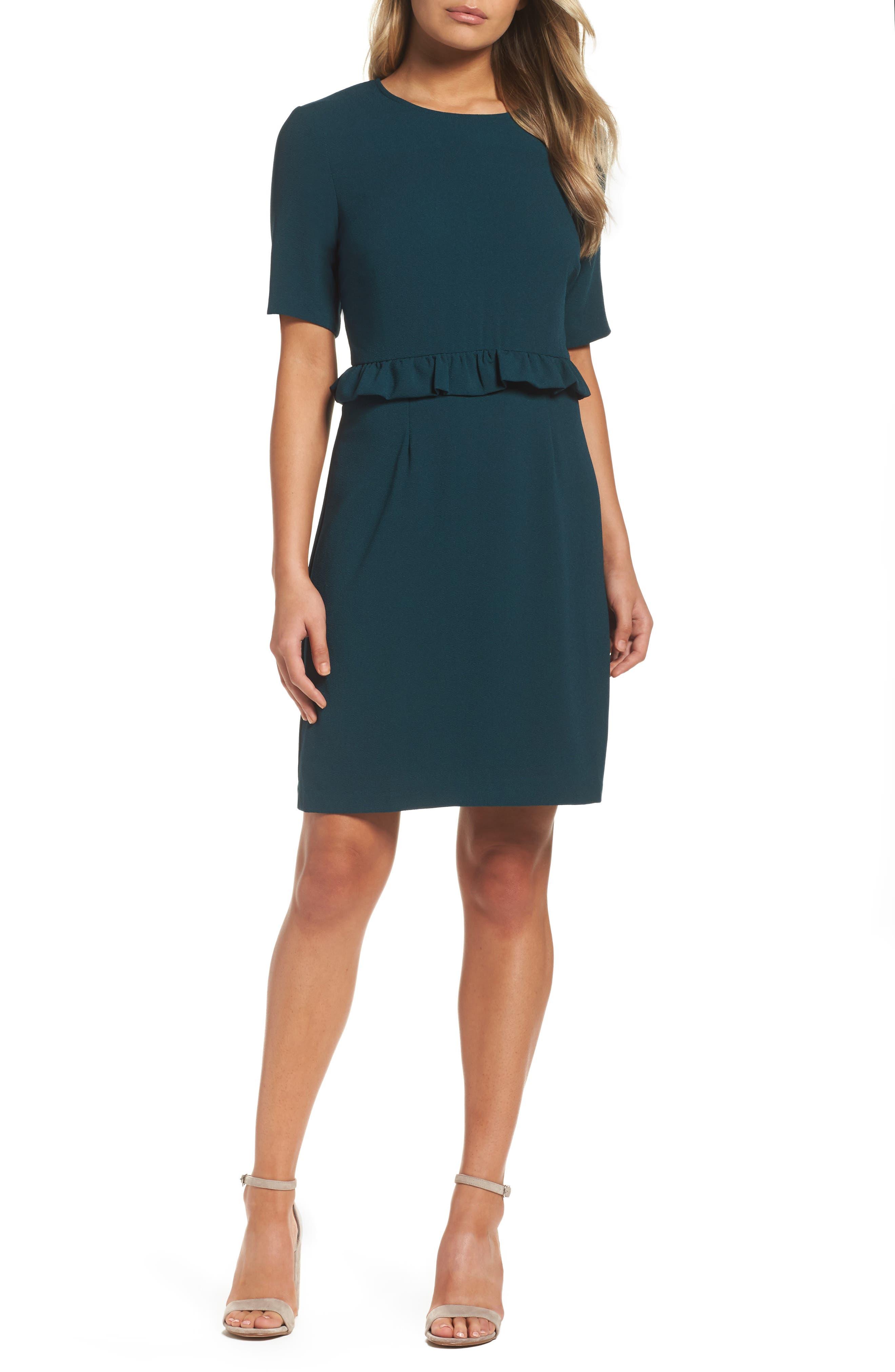 Ruffle Crepe Sheath Dress,                         Main,                         color, Pine