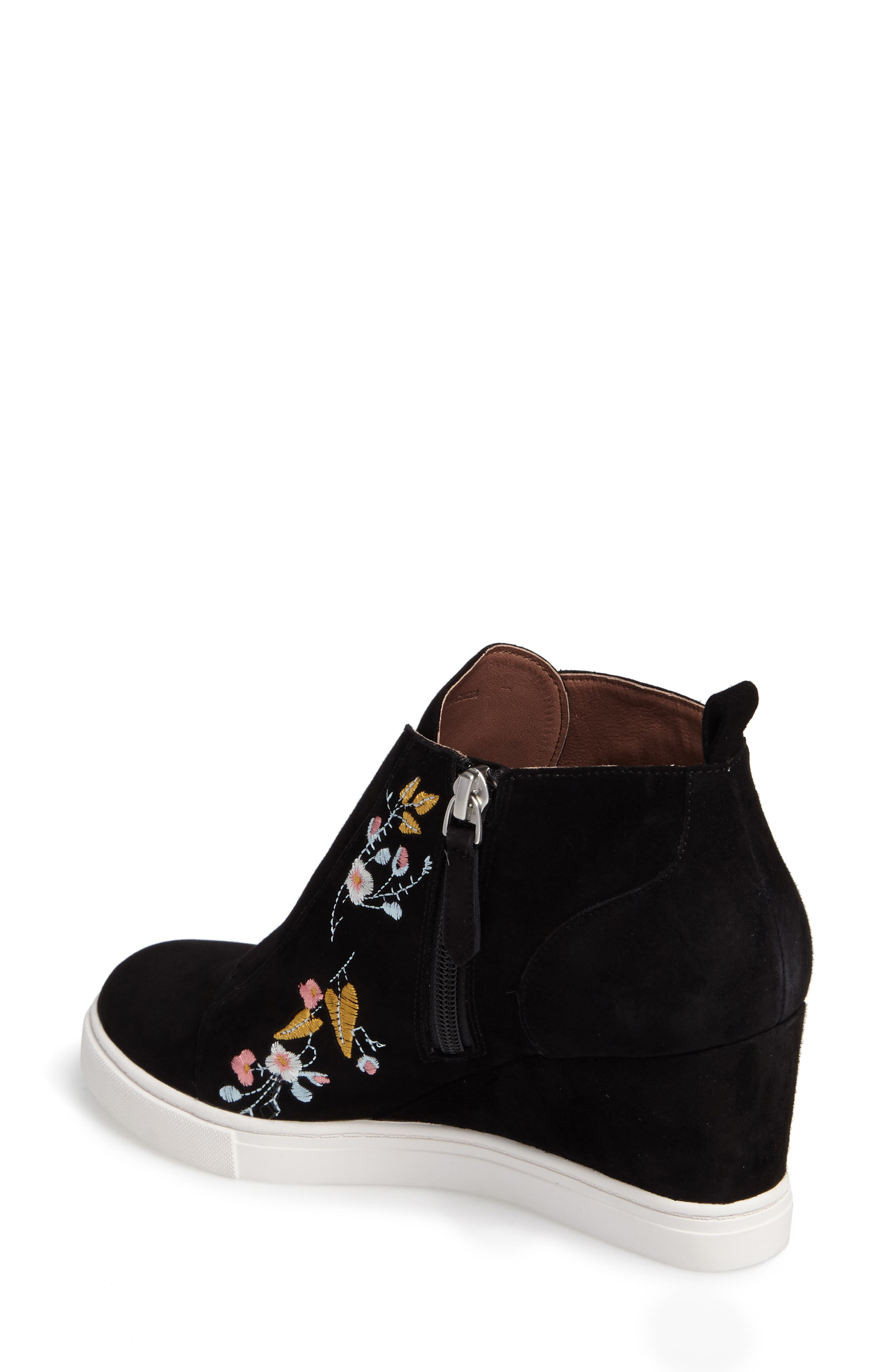 Felicia II Wedge Bootie,                             Alternate thumbnail 2, color,                             Black Embroidery Suede