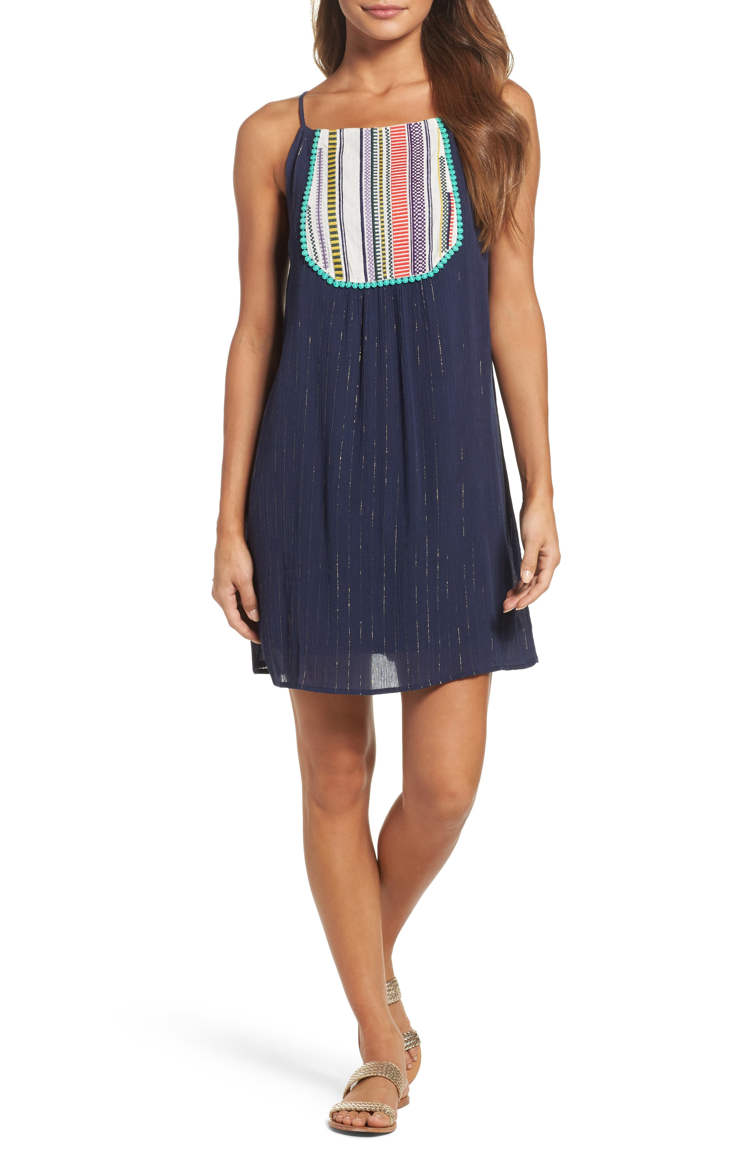 Embroidered Tank Dress,                         Main,                         color, Navy