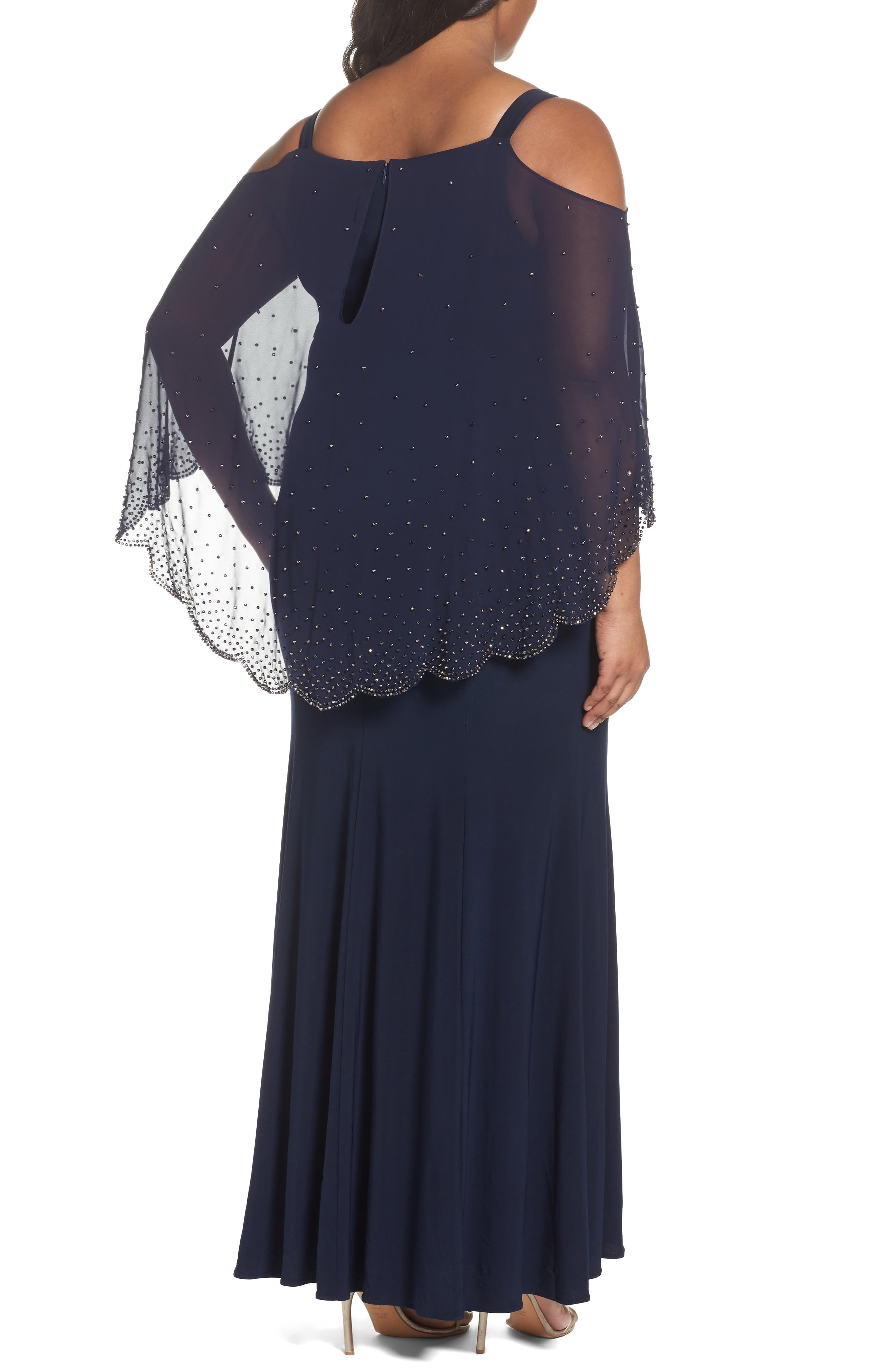 Alternate Image 2  - Xscape Embellished Overlay Off the Shoulder Gown (Plus Size)