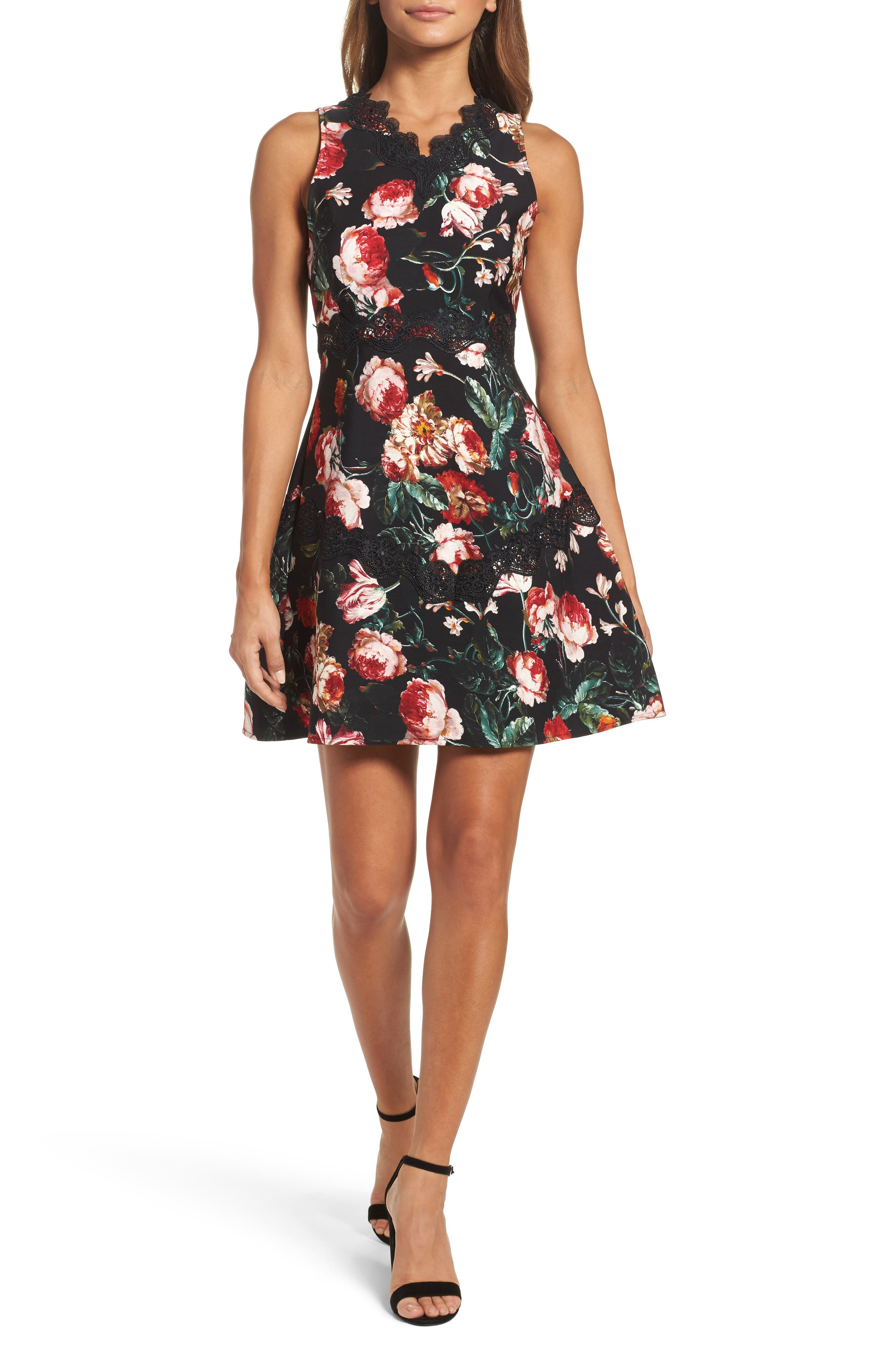 Lace Fit & Flare Dress,                             Main thumbnail 1, color,                             Black Foxie Floral