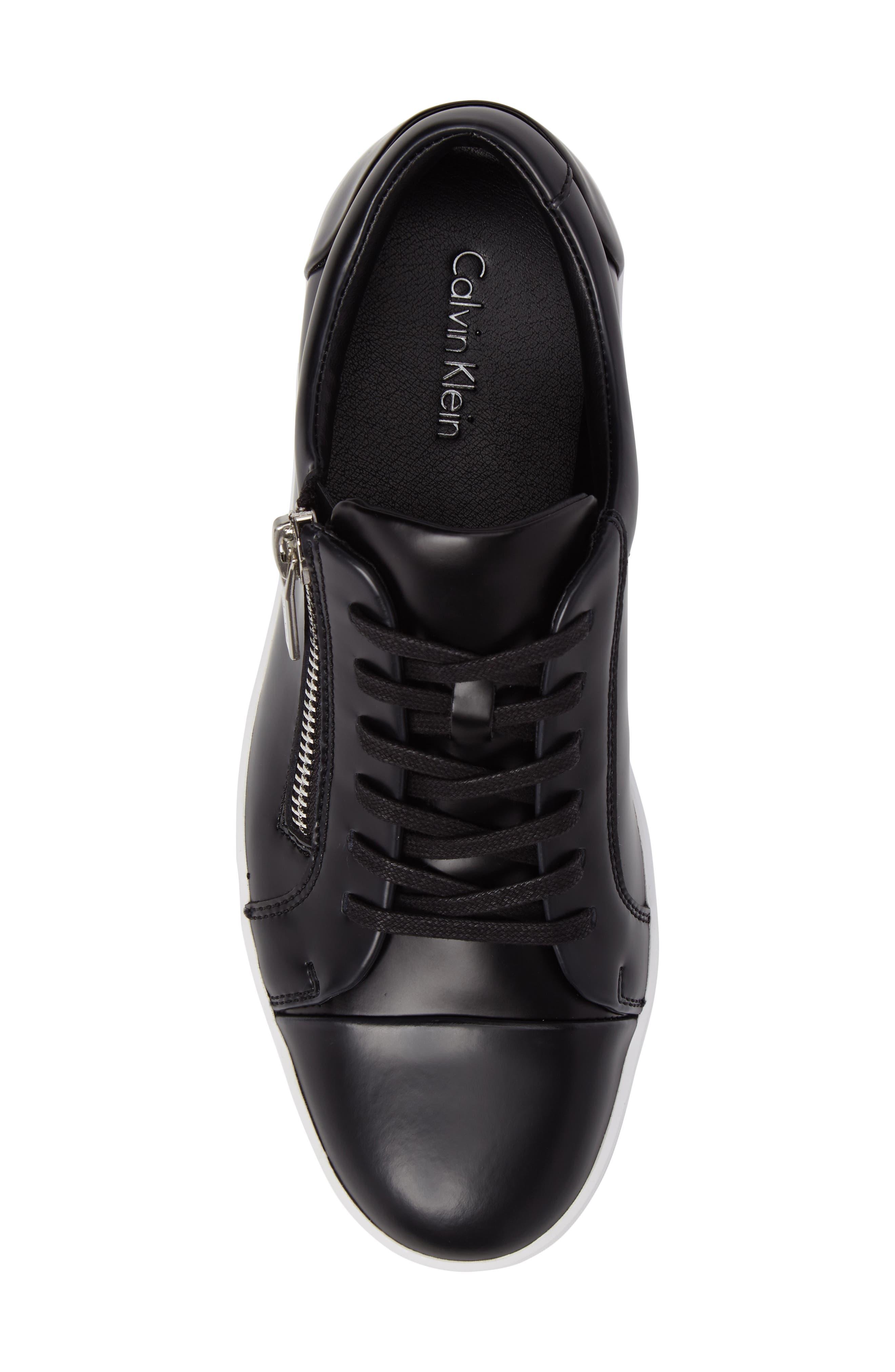 Ibrahim Cap-Toe Zip Sneaker,                             Alternate thumbnail 5, color,                             Black Leather