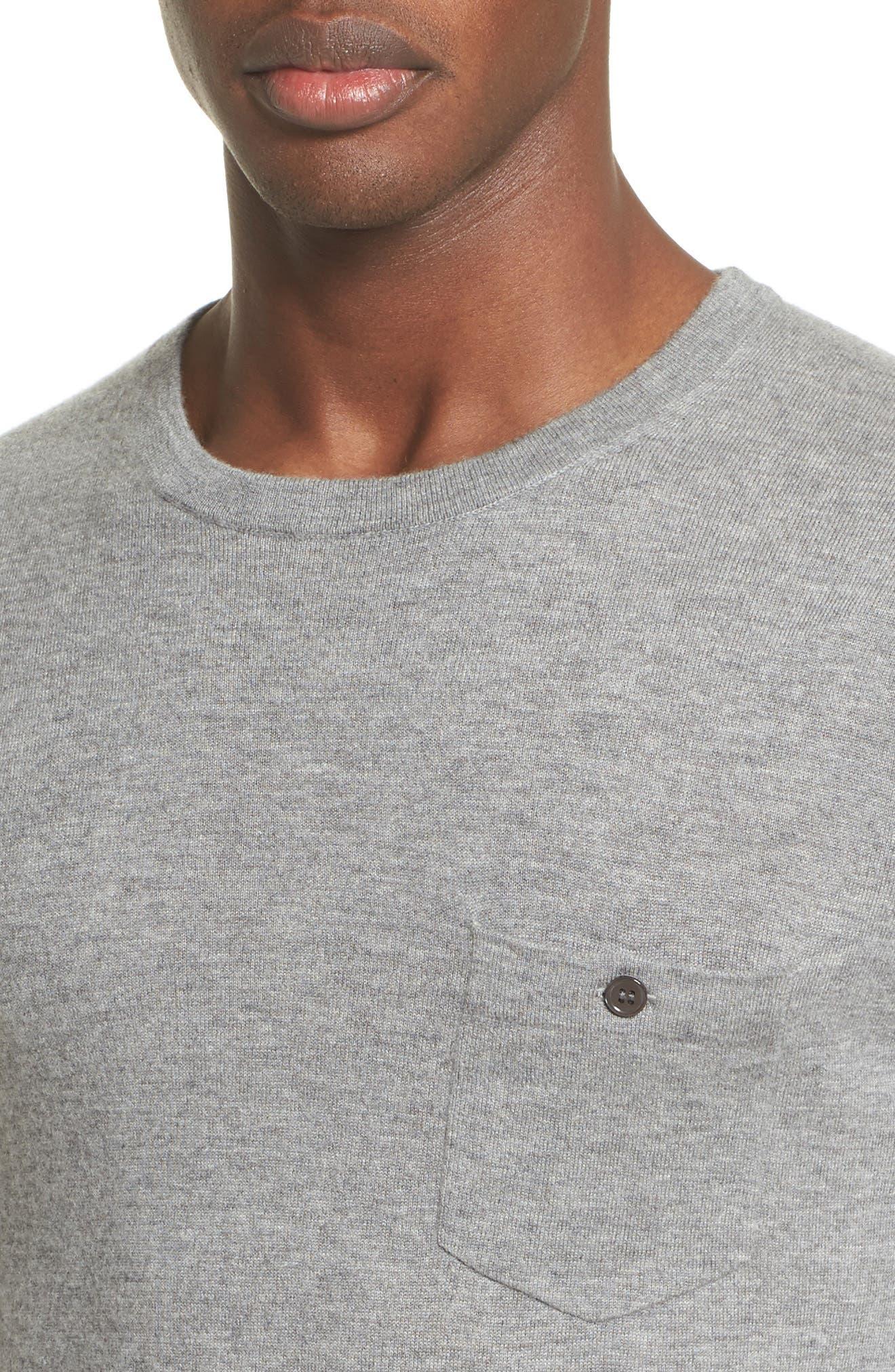 Cashmere Pocket T-Shirt,                             Alternate thumbnail 4, color,                             Grey Heather