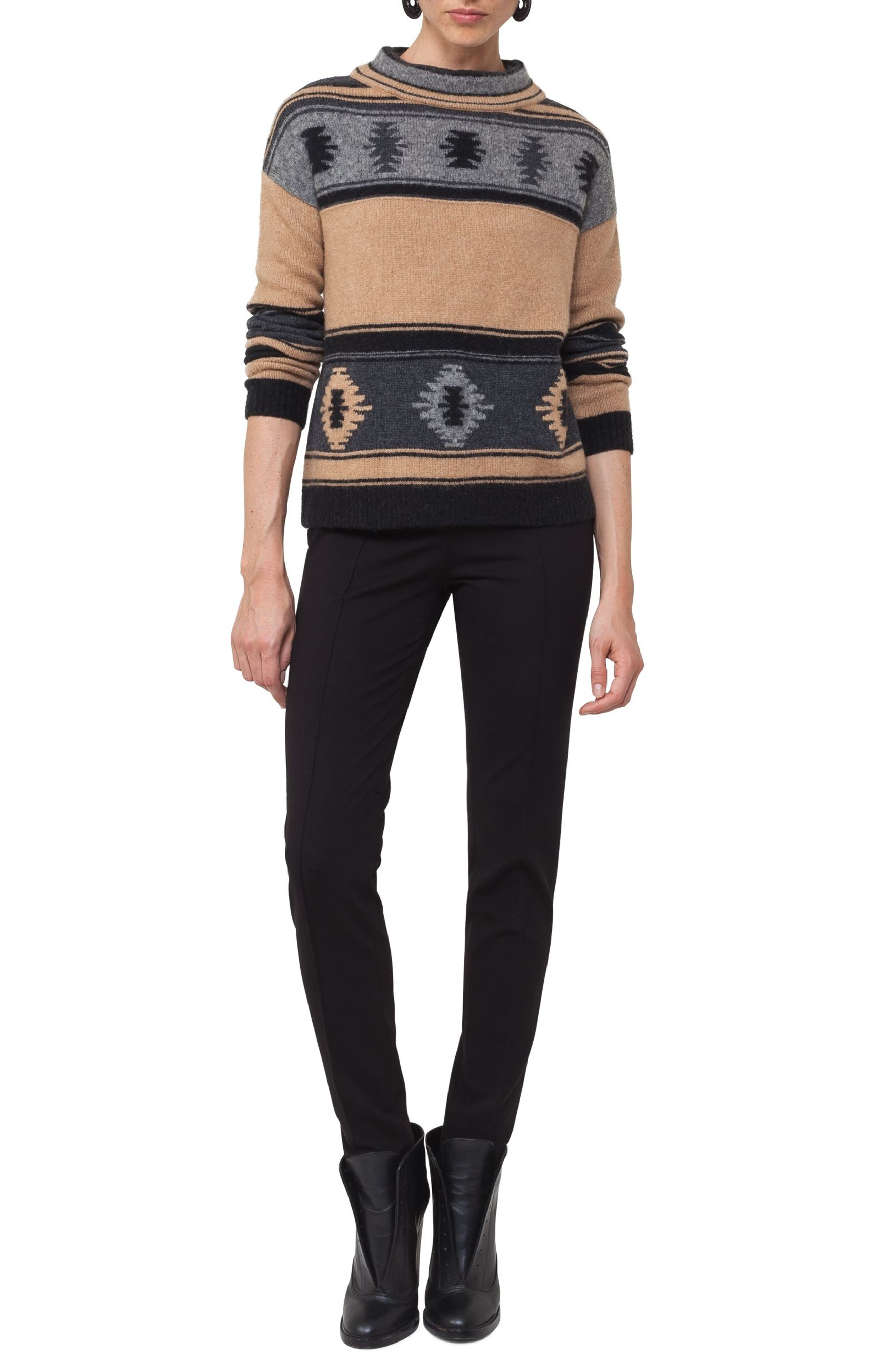 Wool Blend Pullover,                             Alternate thumbnail 3, color,                             Vicunia/ Stone/ Black