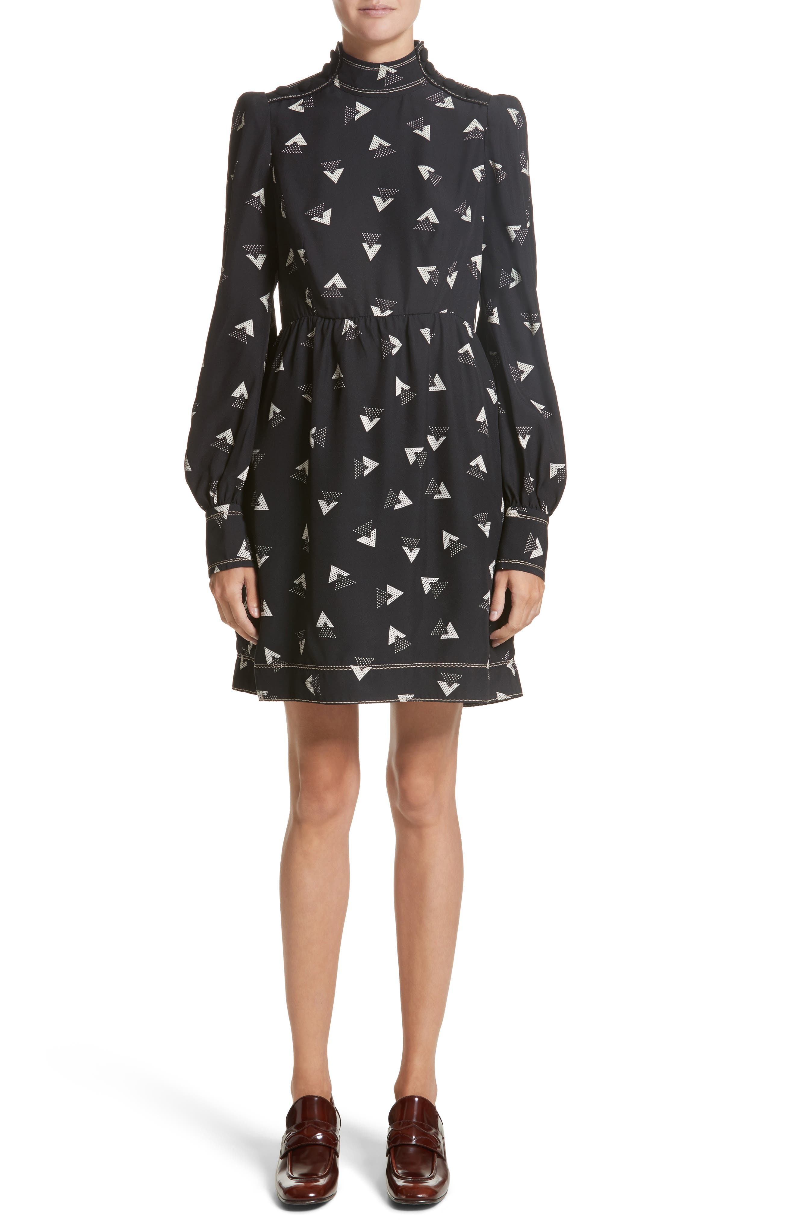 Geo Print Satin Back Crepe Dress,                         Main,                         color, Black/ Ivory