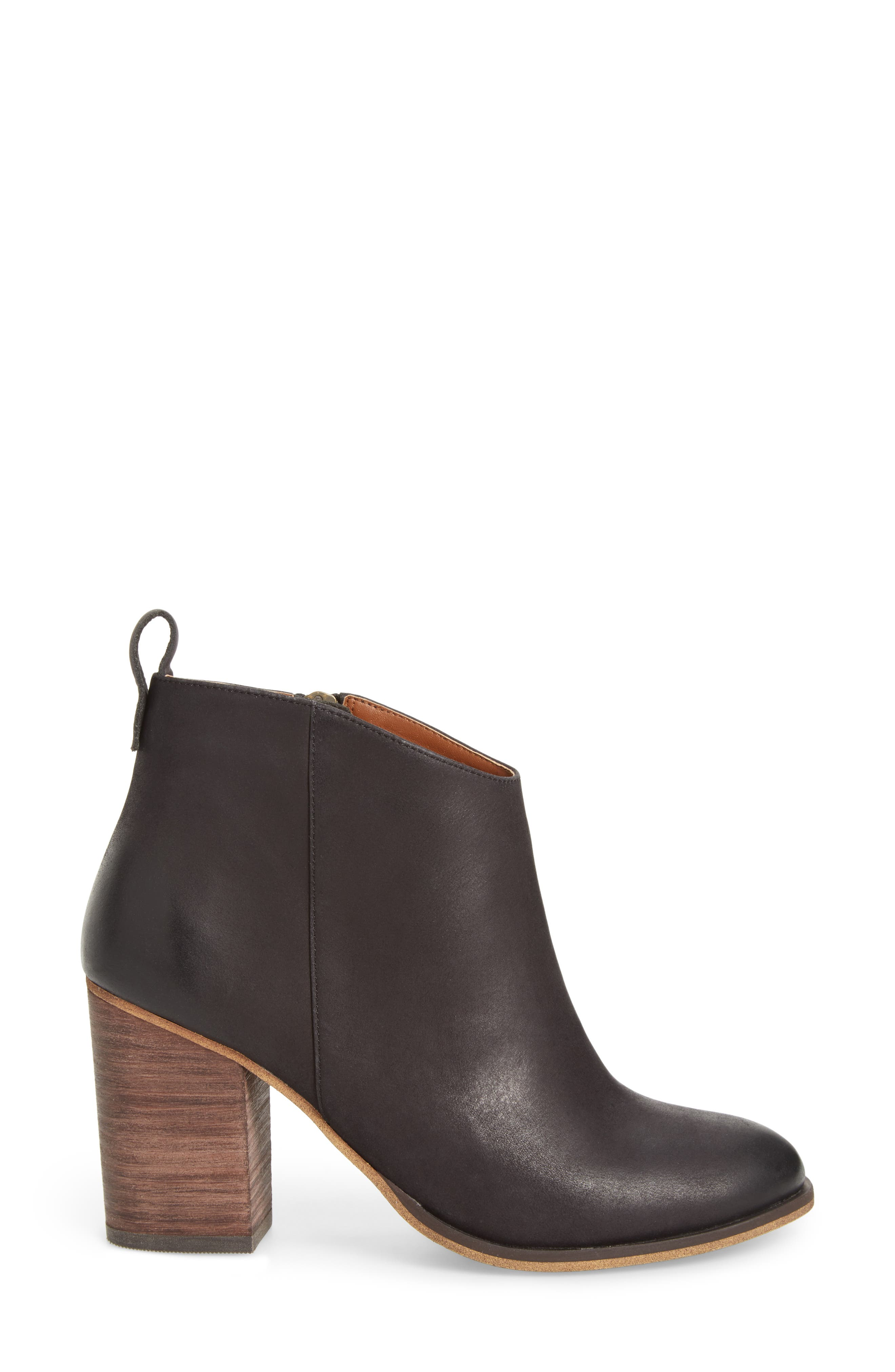 Lance Block Heel Bootie,                             Alternate thumbnail 3, color,                             Black Burnished Leather