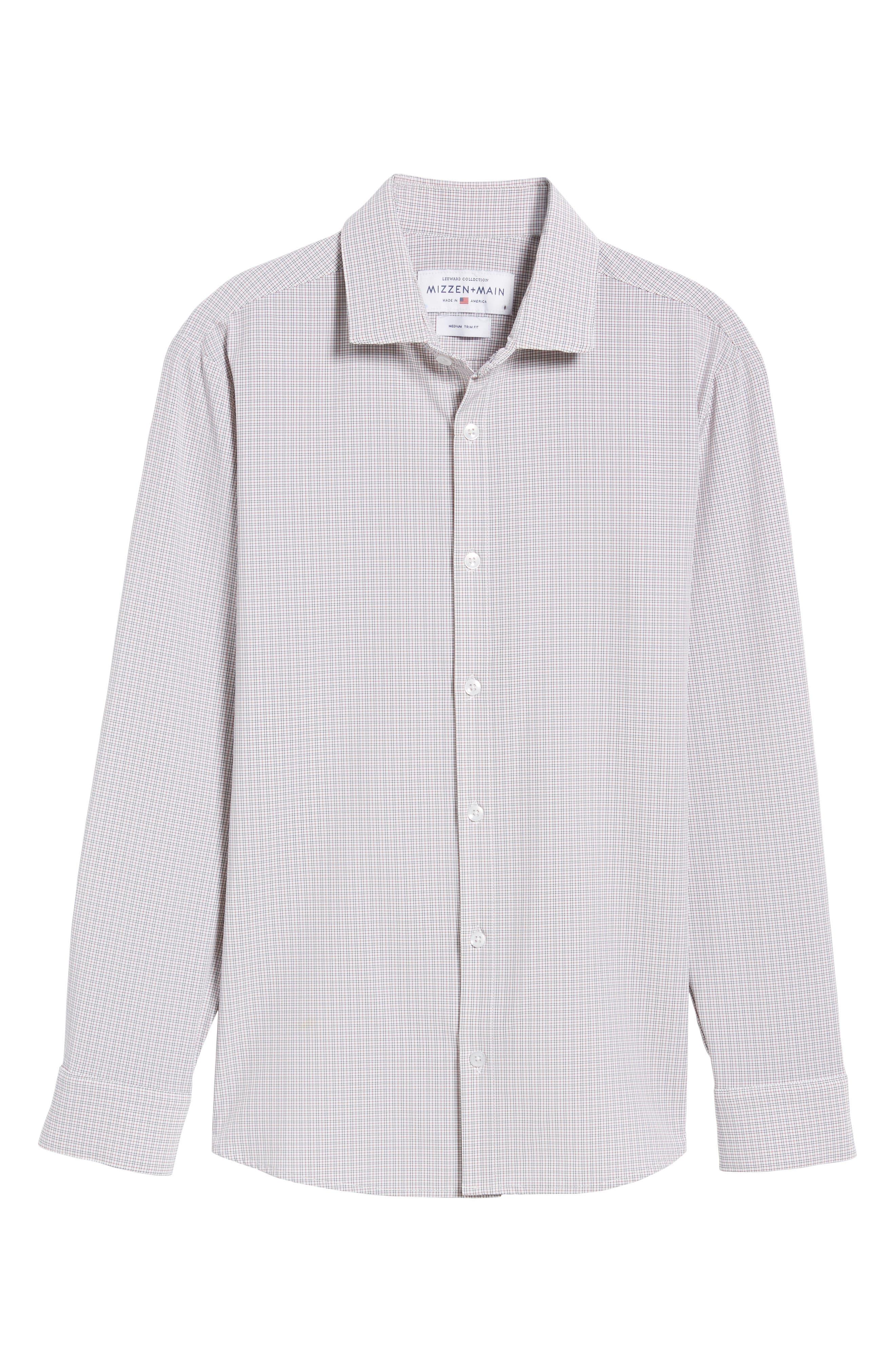 Reed Granite & Burgundy Check Sport Shirt,                             Alternate thumbnail 6, color,                             Red