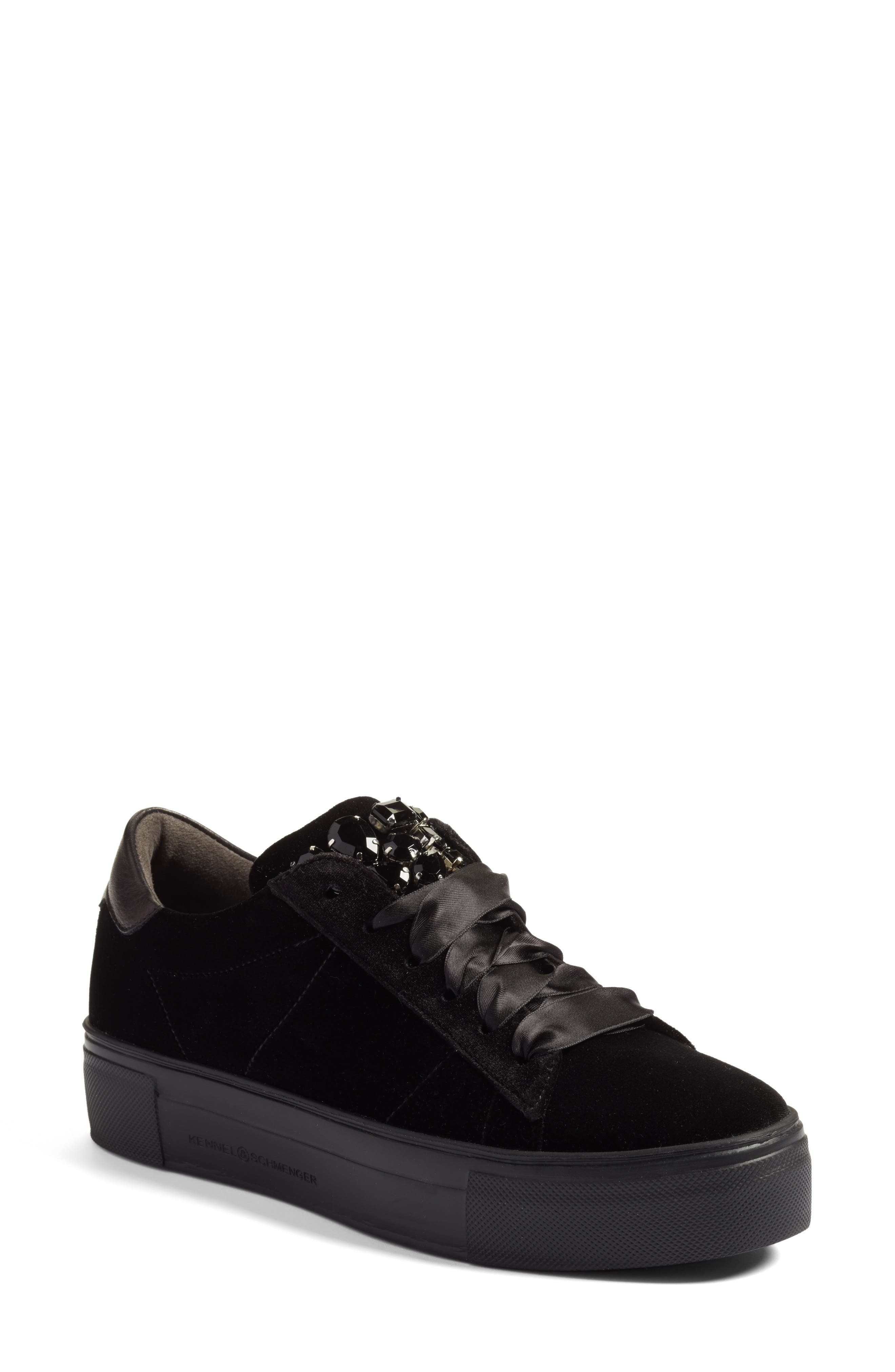Main Image - Kennel & Schmenger Big Velvet Lace-Up Sneaker (Women)