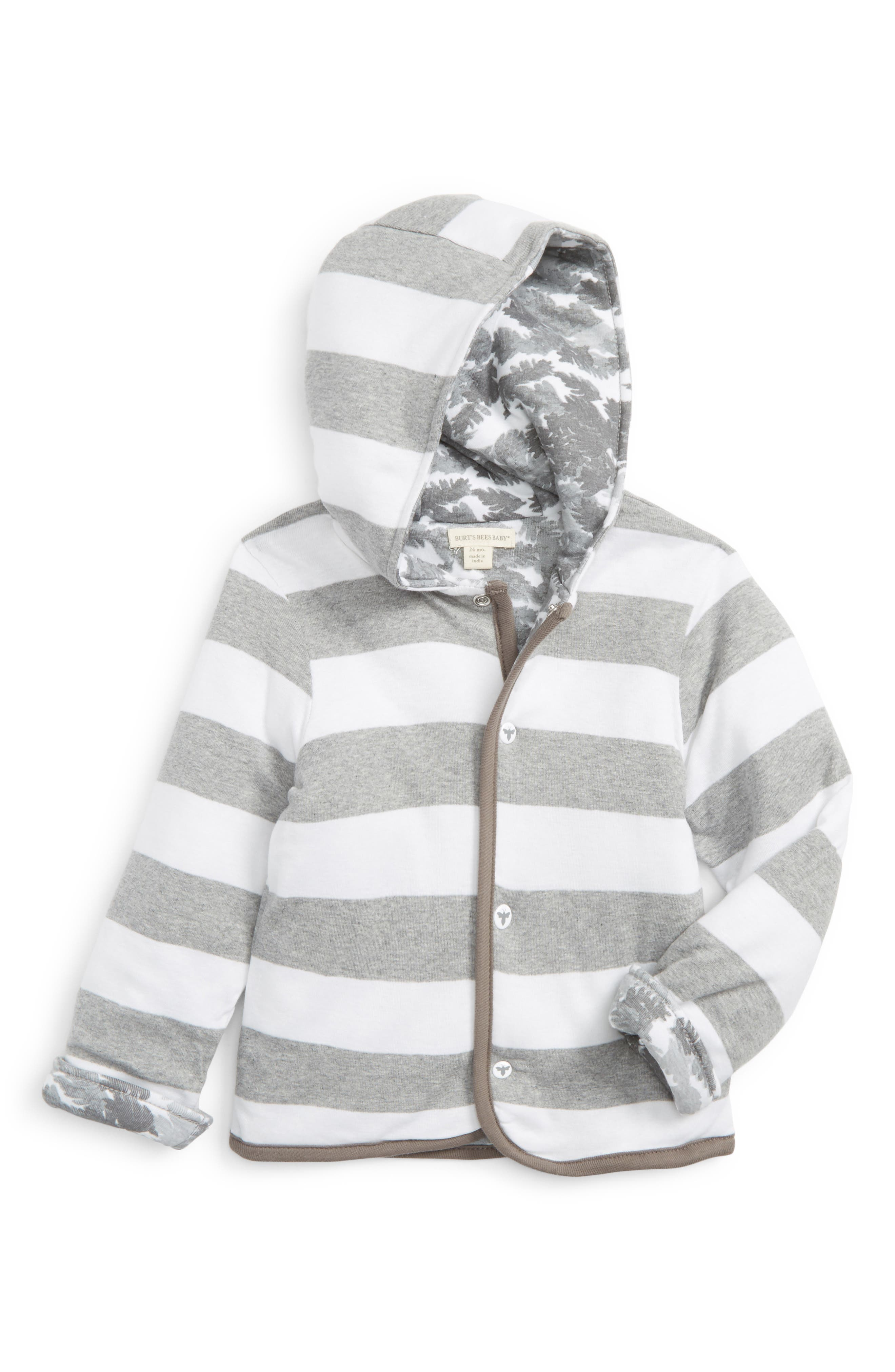 Burt's Bees Reversible Organic Cotton Hoodie,                             Main thumbnail 1, color,                             Heather Grey