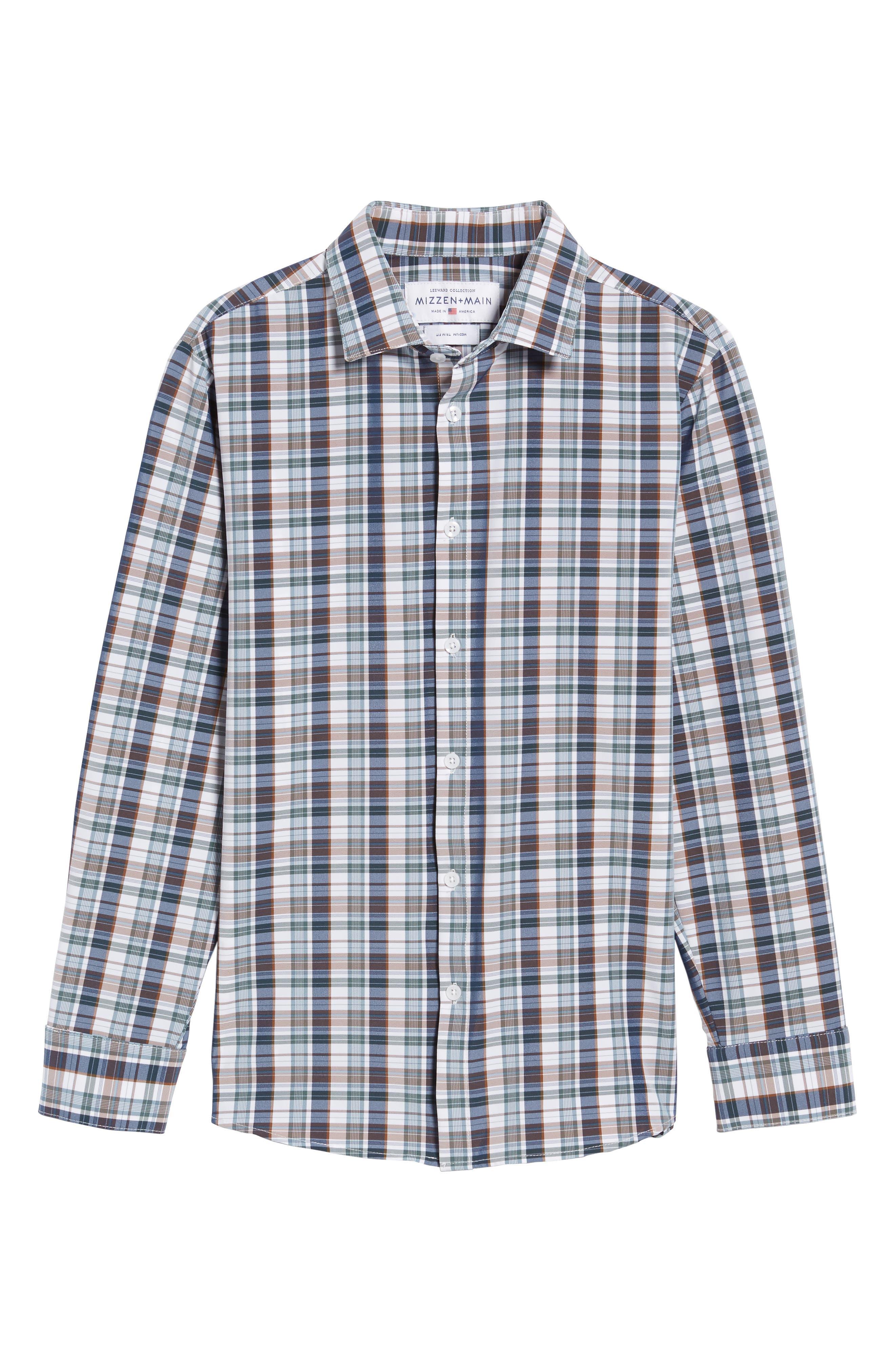 Alternate Image 6  - Mizzen+Main Russell Madras Plaid Performance Sport Shirt (Regular & Tall)