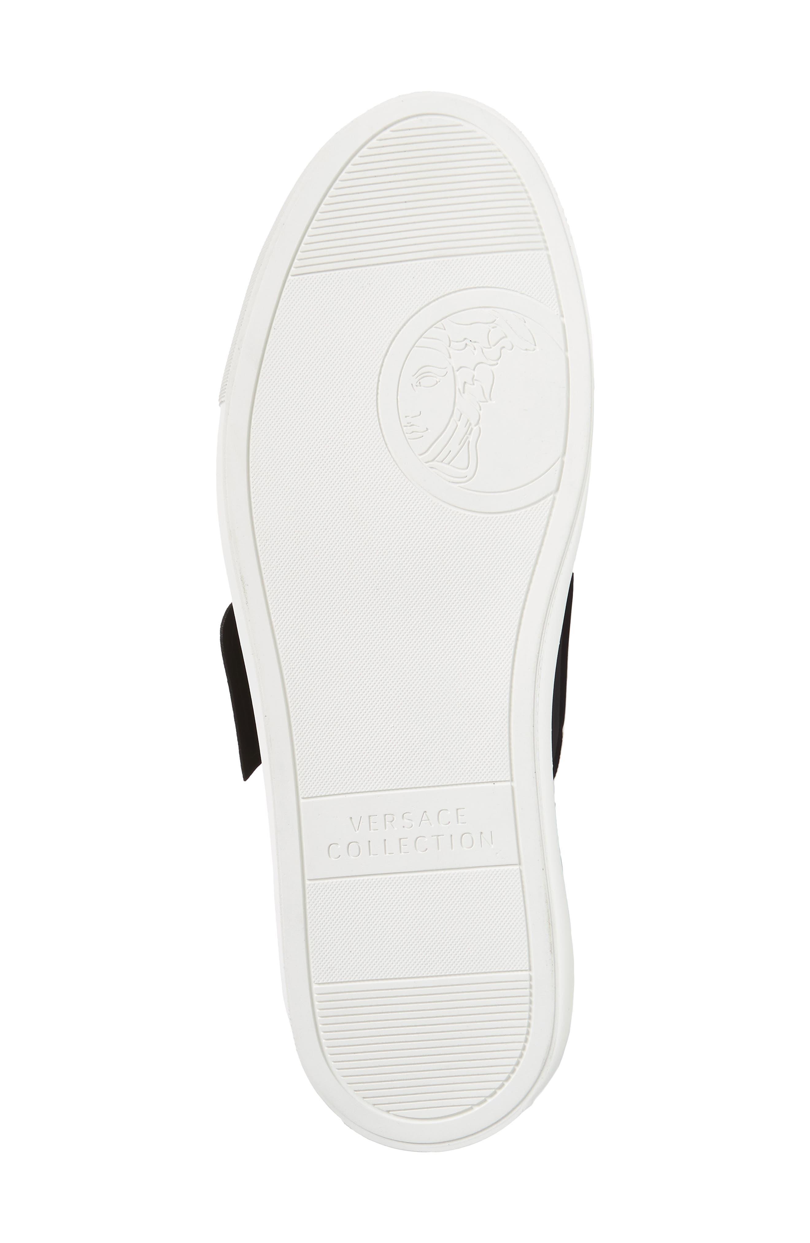 Strap Sneaker,                             Alternate thumbnail 6, color,                             Bianco/ Nero Leather