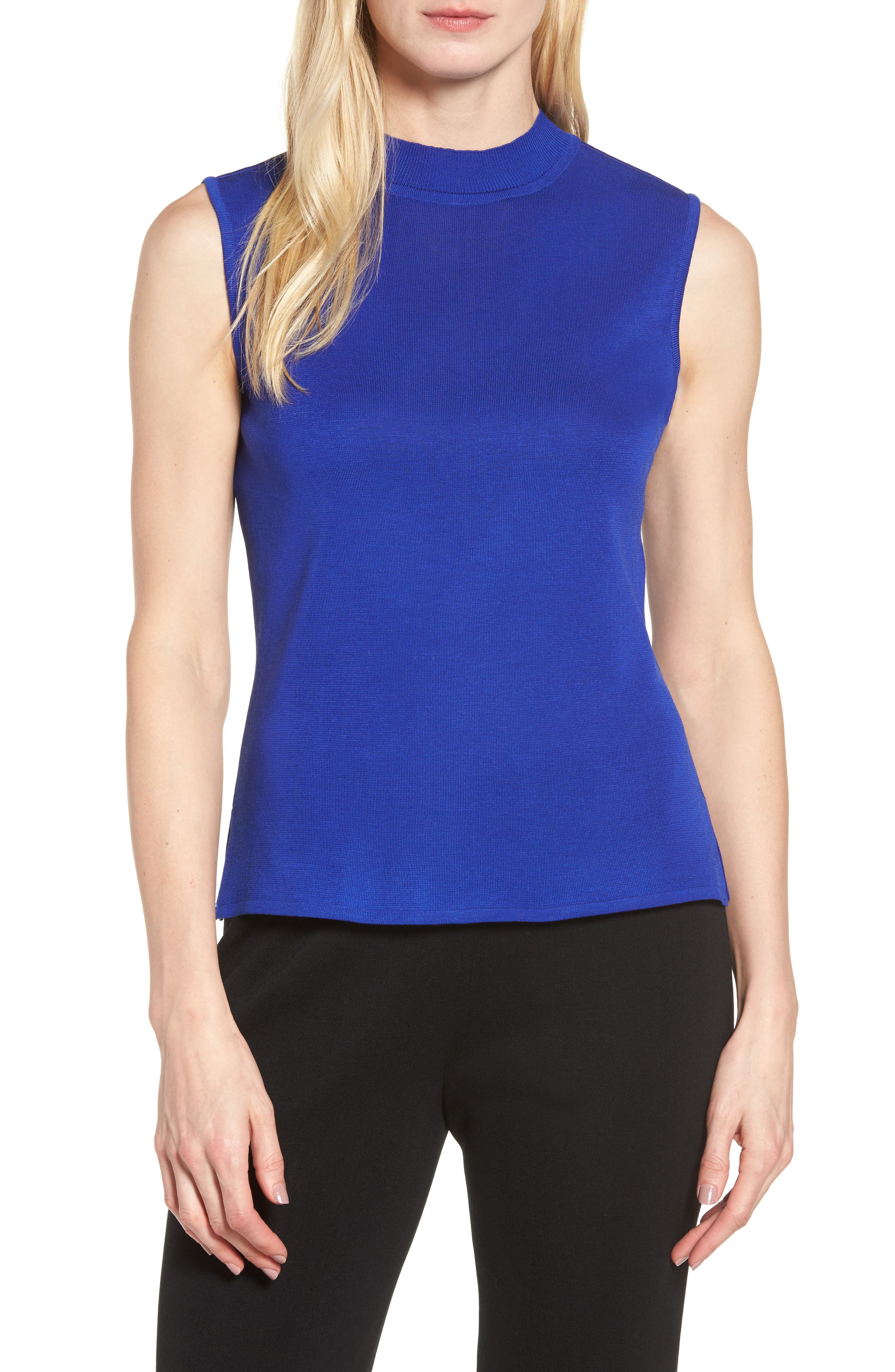 Ming Wang Mock Neck Knit Tank