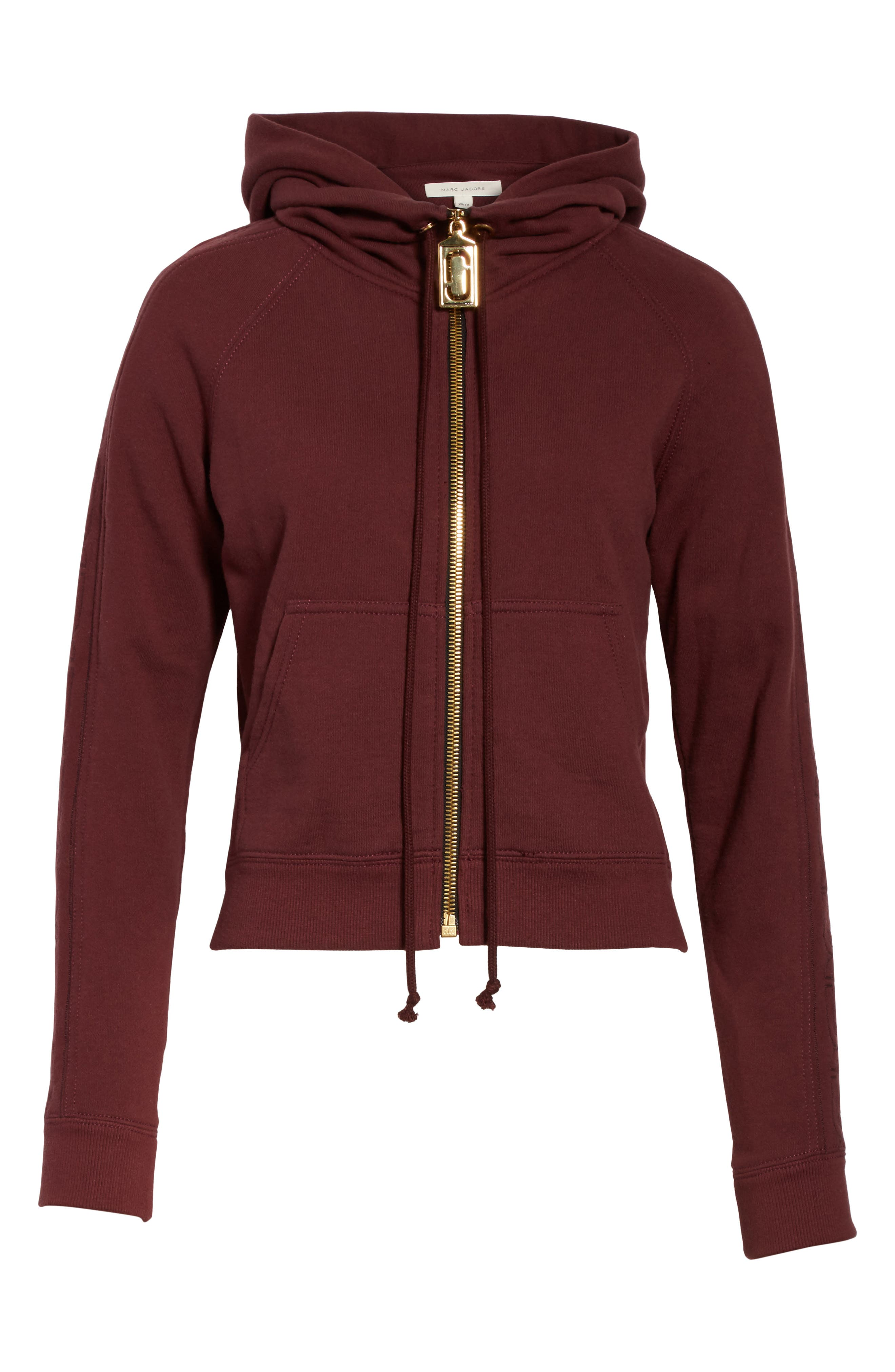 Embroidered Sleeve Hoodie,                             Alternate thumbnail 6, color,                             Burgundy