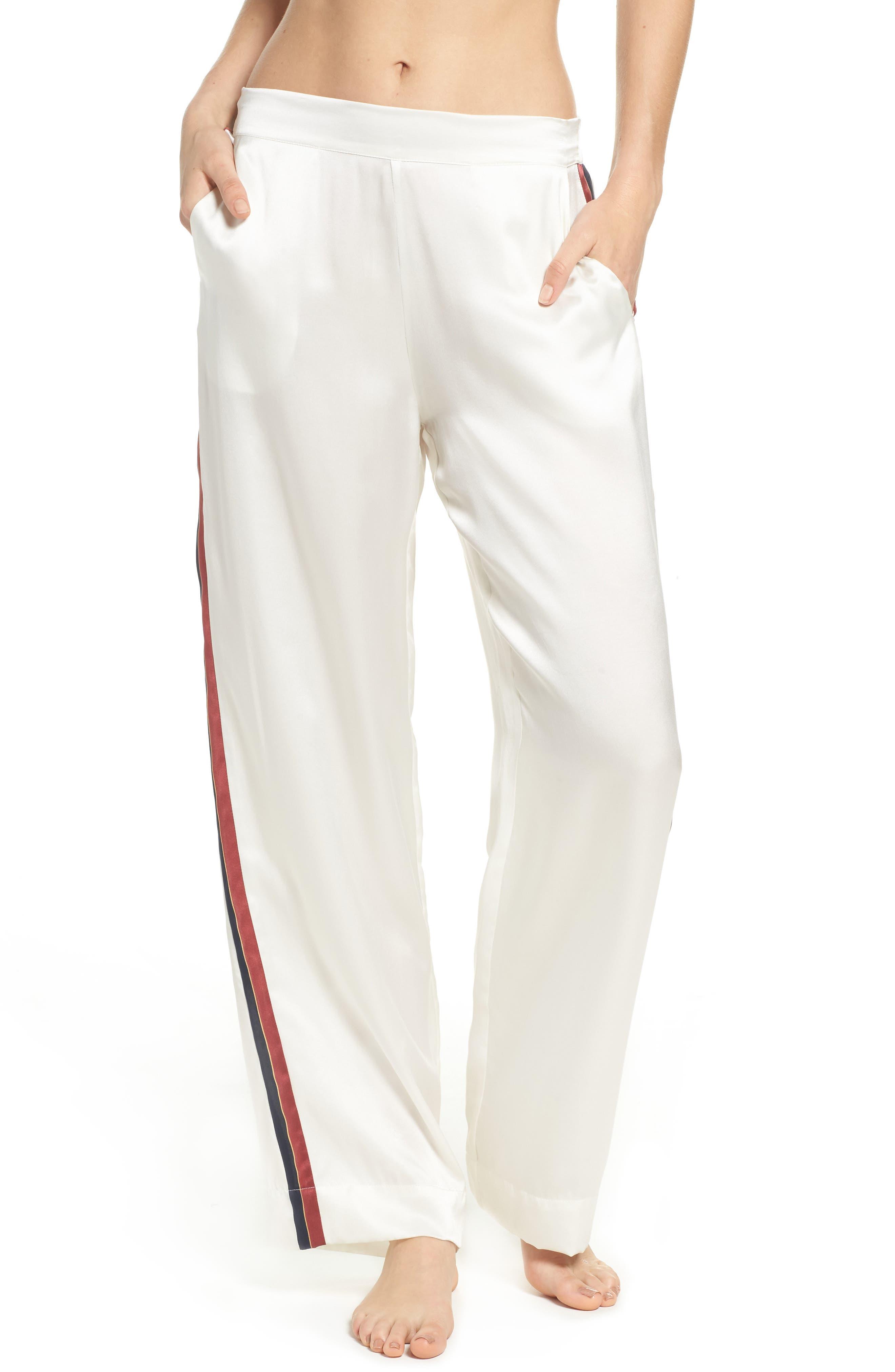 Main Image - Asceno by Beautiful Bottoms Side Stripe Silk Pajama Pants