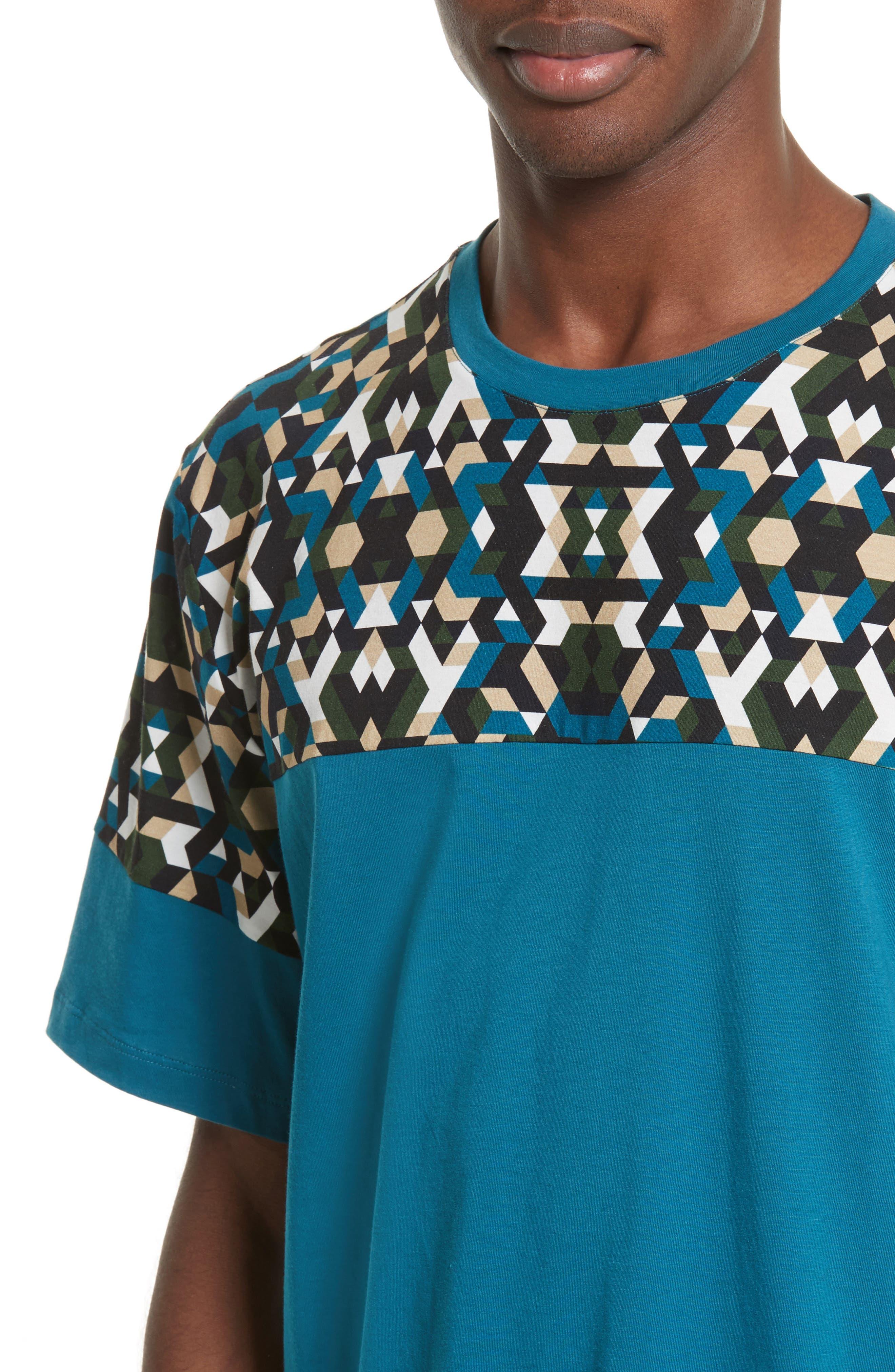 Geo Colorblock T-Shirt,                             Alternate thumbnail 4, color,                             Teal Print