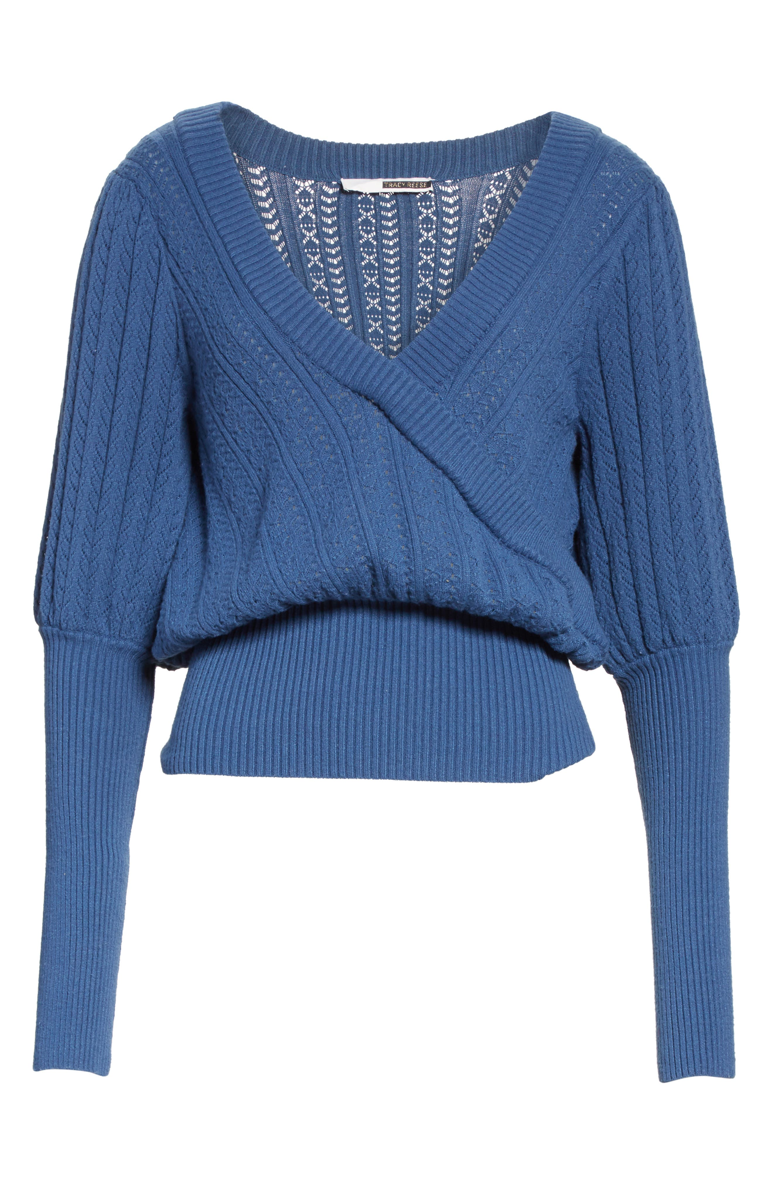 Alternate Image 6  - Tracy Reese Pointelle Knit Surplice Sweater