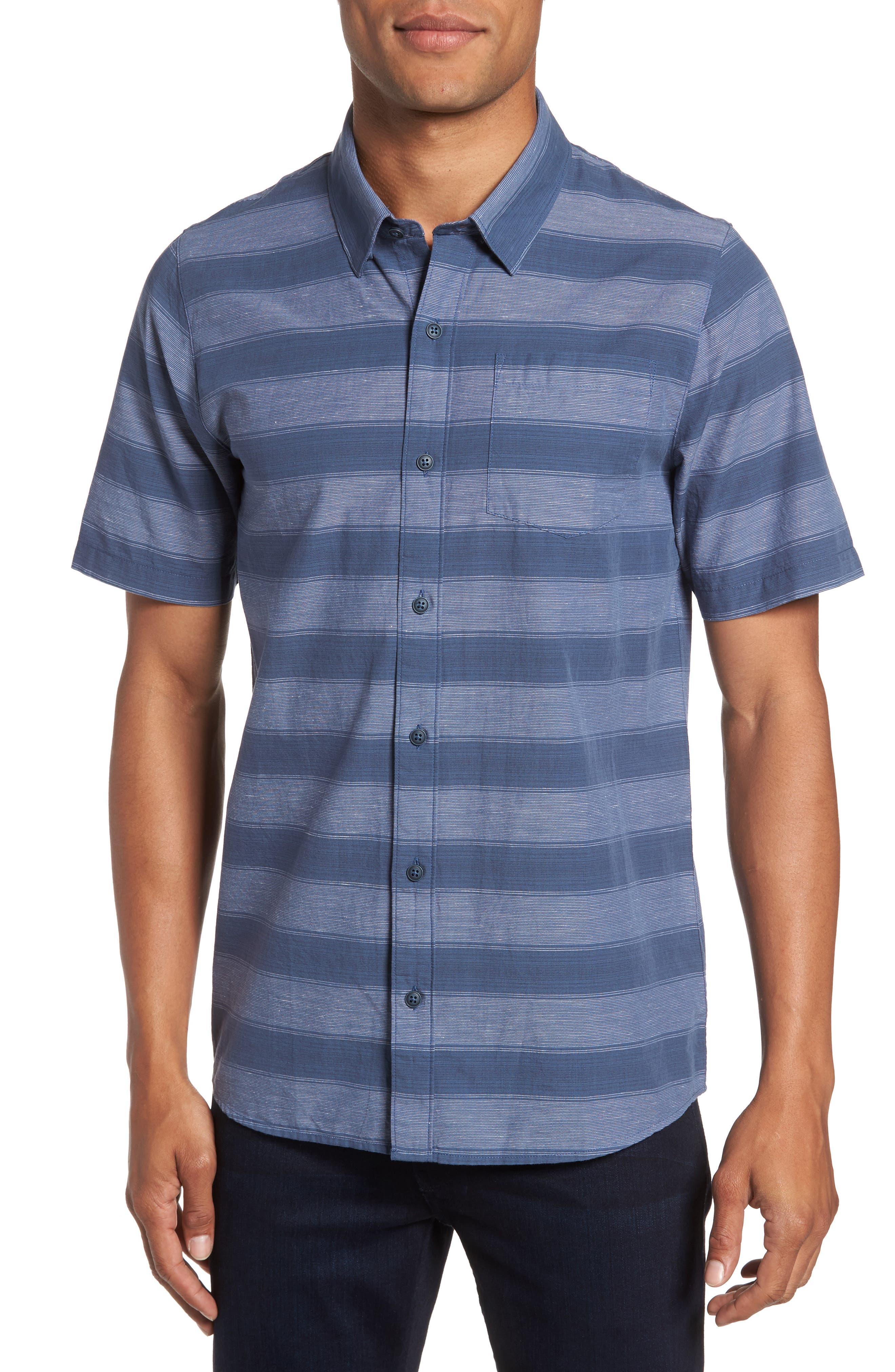 Kenneth Stripe Sport Shirt,                         Main,                         color, Vintage Indigo